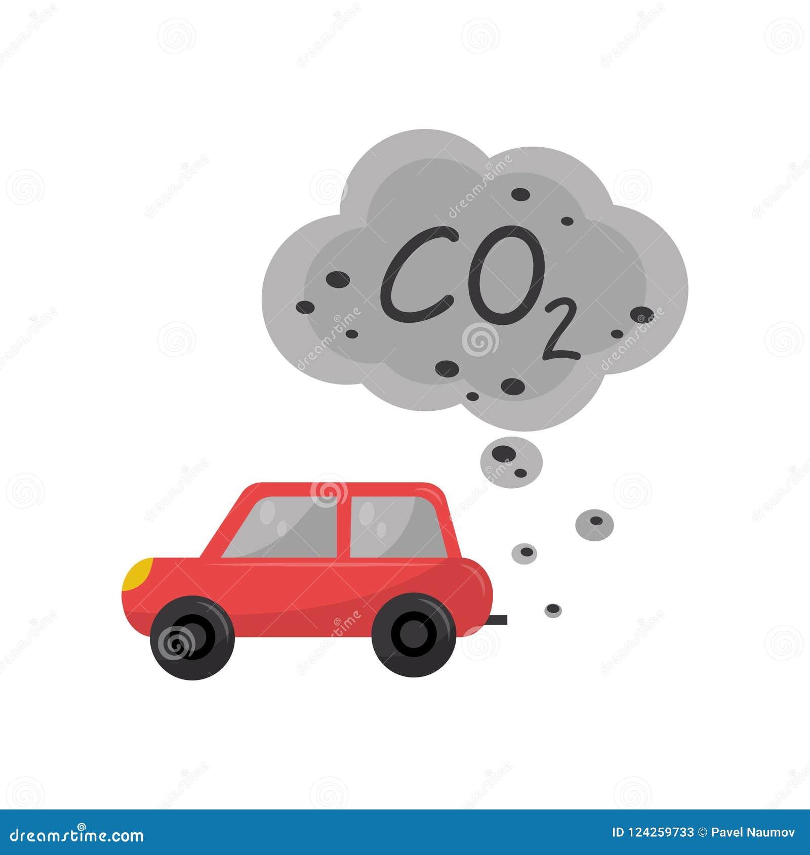 Αυτοκίνητο που εκπέμπει το διοξείδιο του άνθρακα, CO2, περιβαλλοντική διανυσματική απεικόνιση προβλήματος ρύπανσης σε ένα άσπρο υ