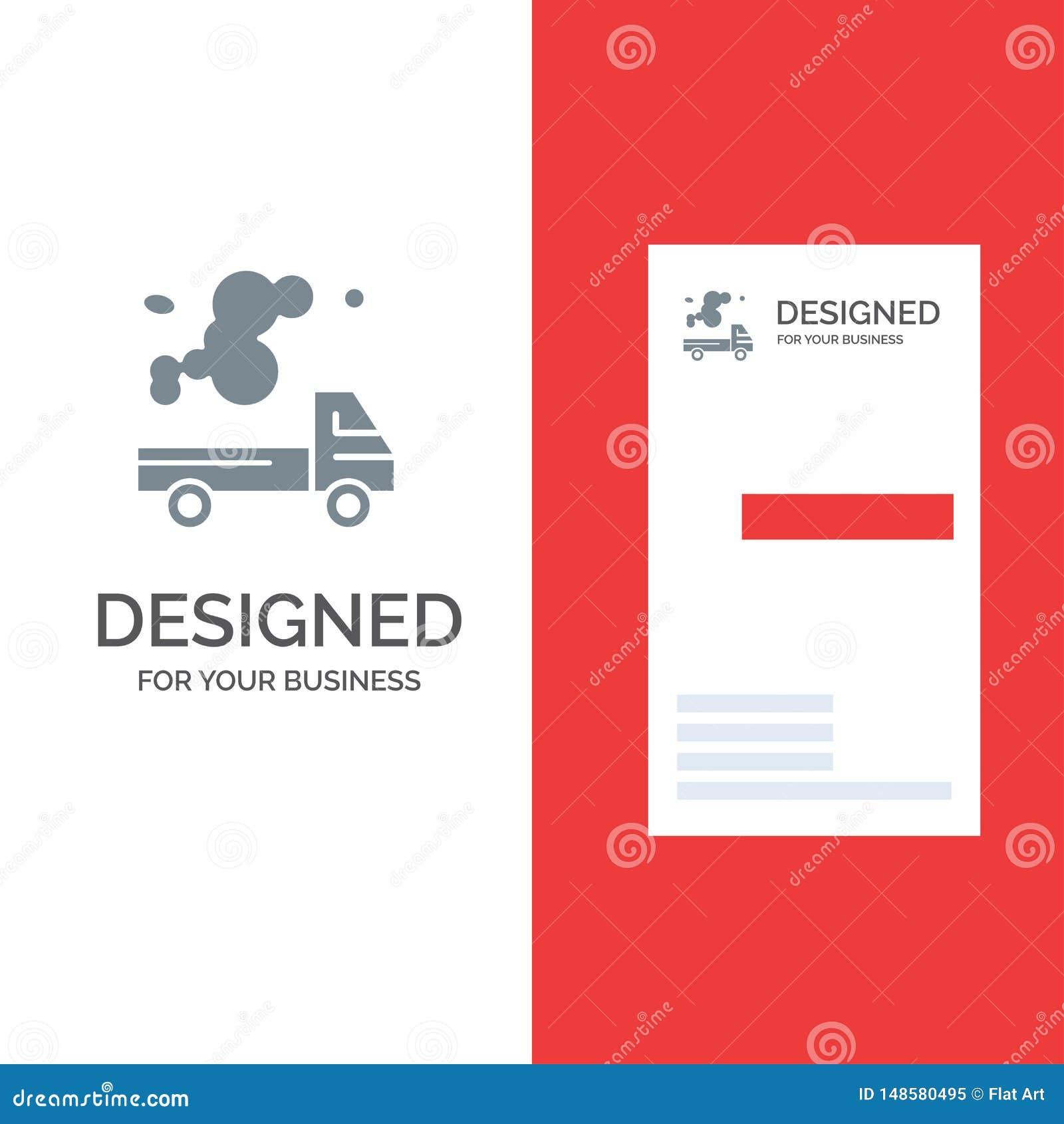 Αυτοκίνητο, φορτηγό, εκπομπή, αέριο, γκρίζο σχέδιο λογότυπων ρύπανσης και πρότυπο επαγγελματικών καρτών