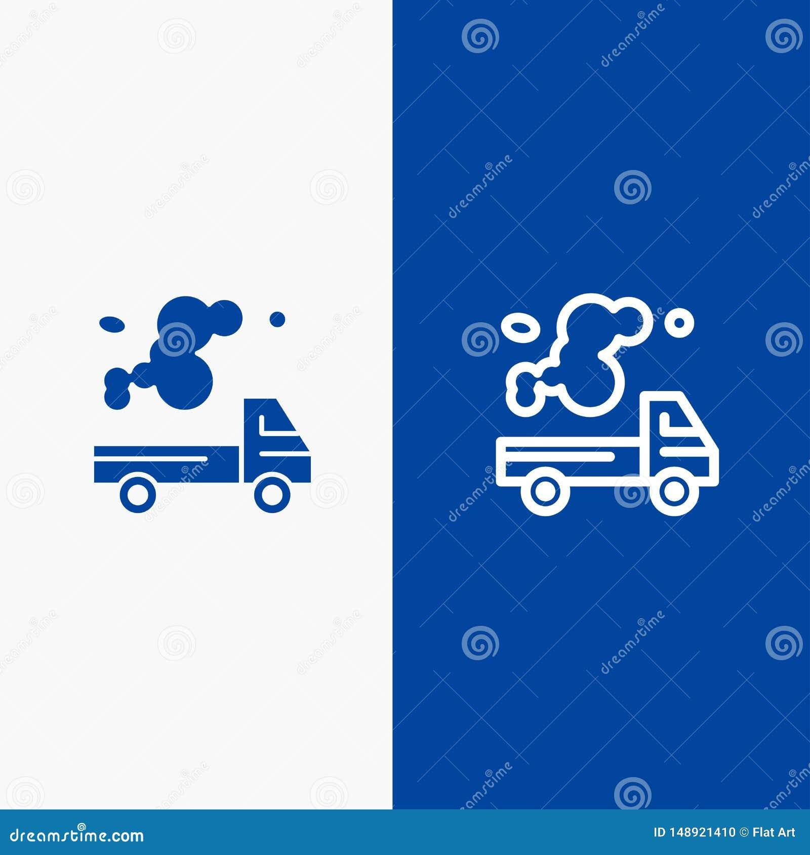 Αυτοκίνητο, φορτηγό, εκπομπή, αέριο, γραμμή ρύπανσης και στερεά γραμμή εμβλημάτων εικονιδίων Glyph μπλε και στερεό μπλε έμβλημα ε