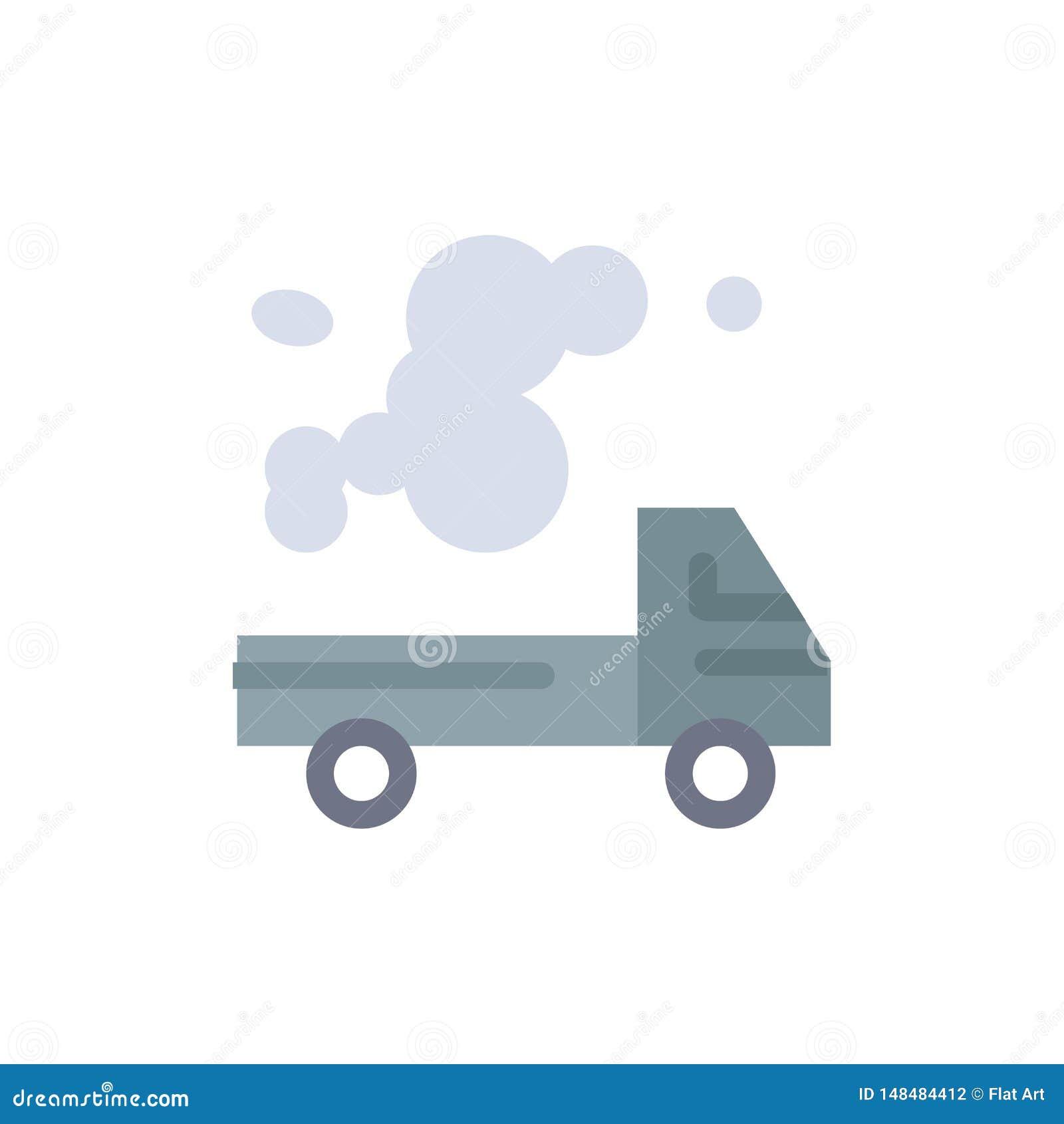 Αυτοκίνητο, φορτηγό, εκπομπή, αέριο, επίπεδο εικονίδιο χρώματος ρύπανσης Διανυσματικό πρότυπο εμβλημάτων εικονιδίων