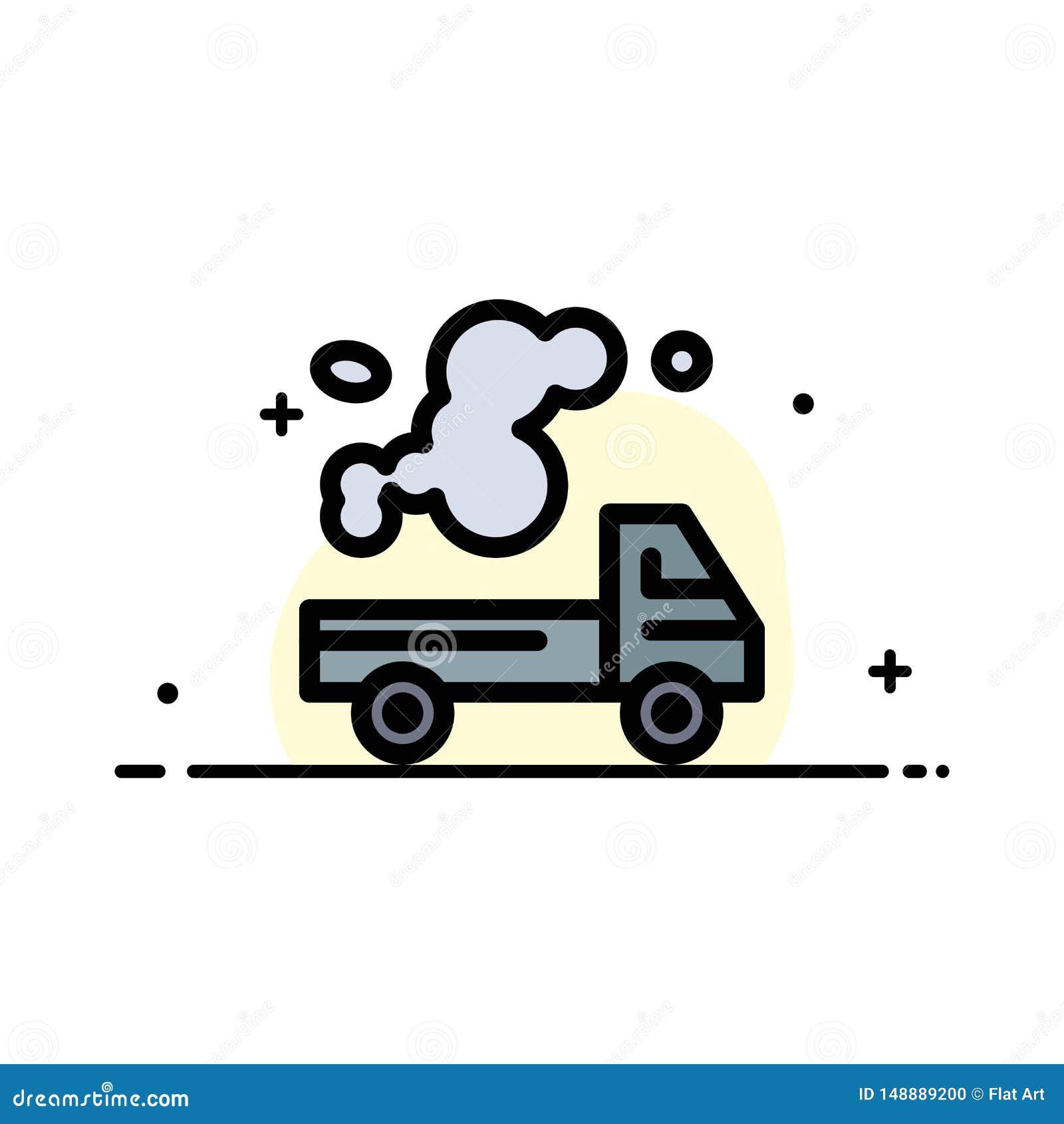 Αυτοκίνητο, φορτηγό, εκπομπή, αέριο, ρύπανσης πρότυπο εμβλημάτων επιχειρησιακών επίπεδο γεμισμένο γραμμή εικονιδίων διανυσματικό