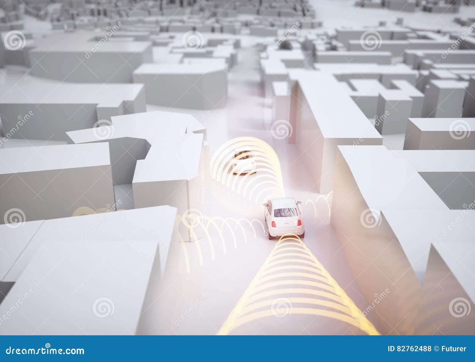 Αυτοκίνητο Selfdriving στη δράση - τρισδιάστατη απόδοση