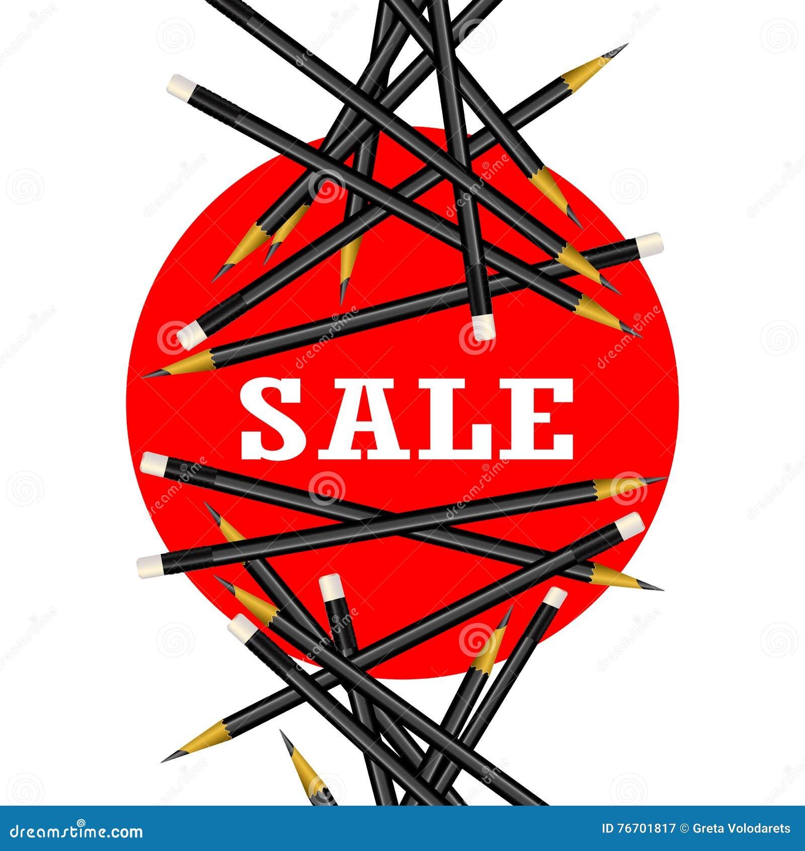 Αυτοκόλλητη ετικέττα πώλησης Κόκκινη ανασκόπηση Διανυσματική απεικόνιση μολυβιών