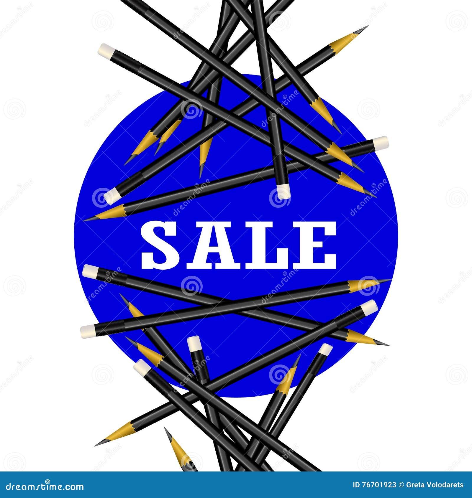 Αυτοκόλλητη ετικέττα πώλησης πρόσκληση συγχαρητηρίων καρτών ανασκόπησης Διανυσματική απεικόνιση μολυβιών