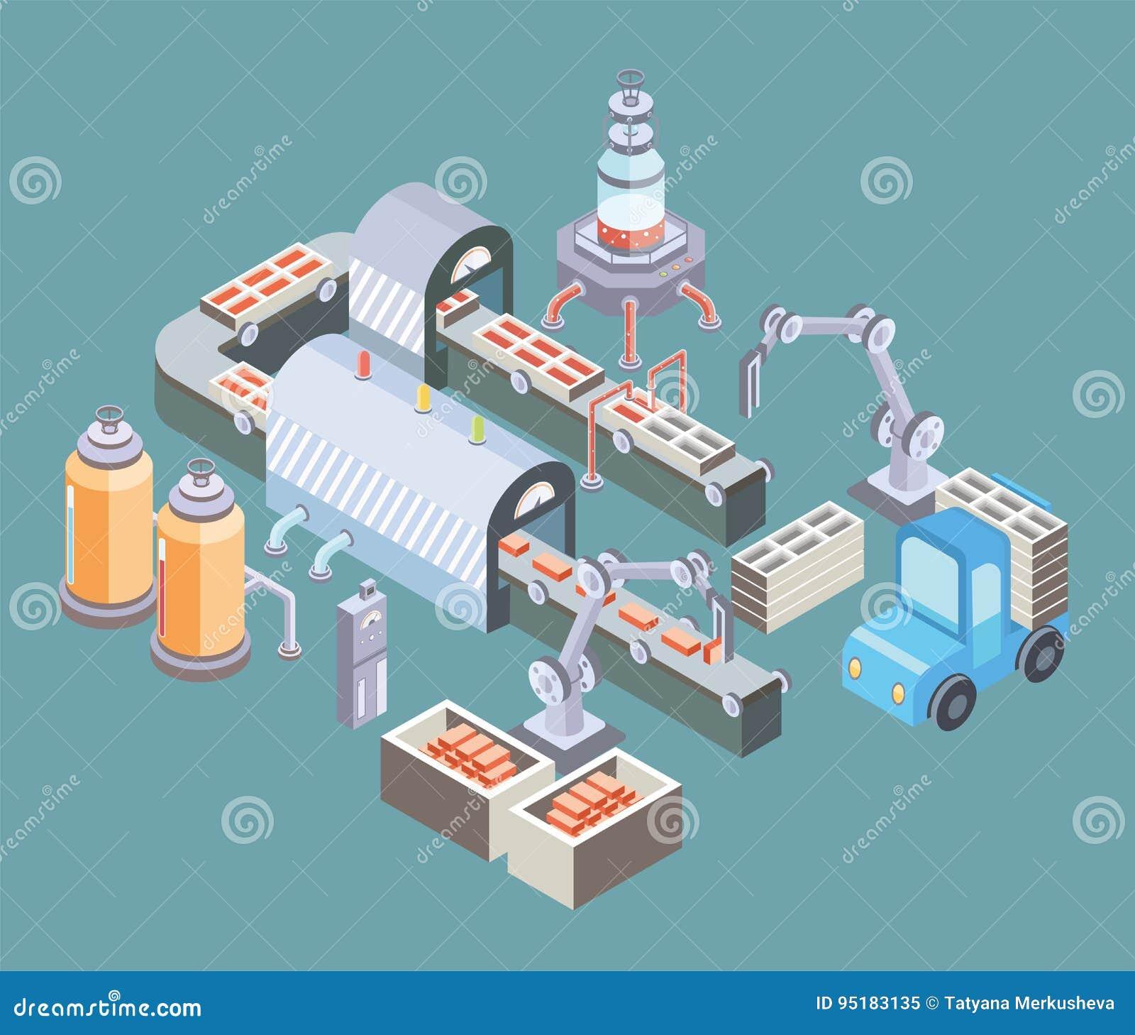 Αυτοματοποιημένη γραμμή παραγωγής Πάτωμα εργοστασίων με το μεταφορέα και τις διάφορες μηχανές Διανυσματική απεικόνιση στη isometr
