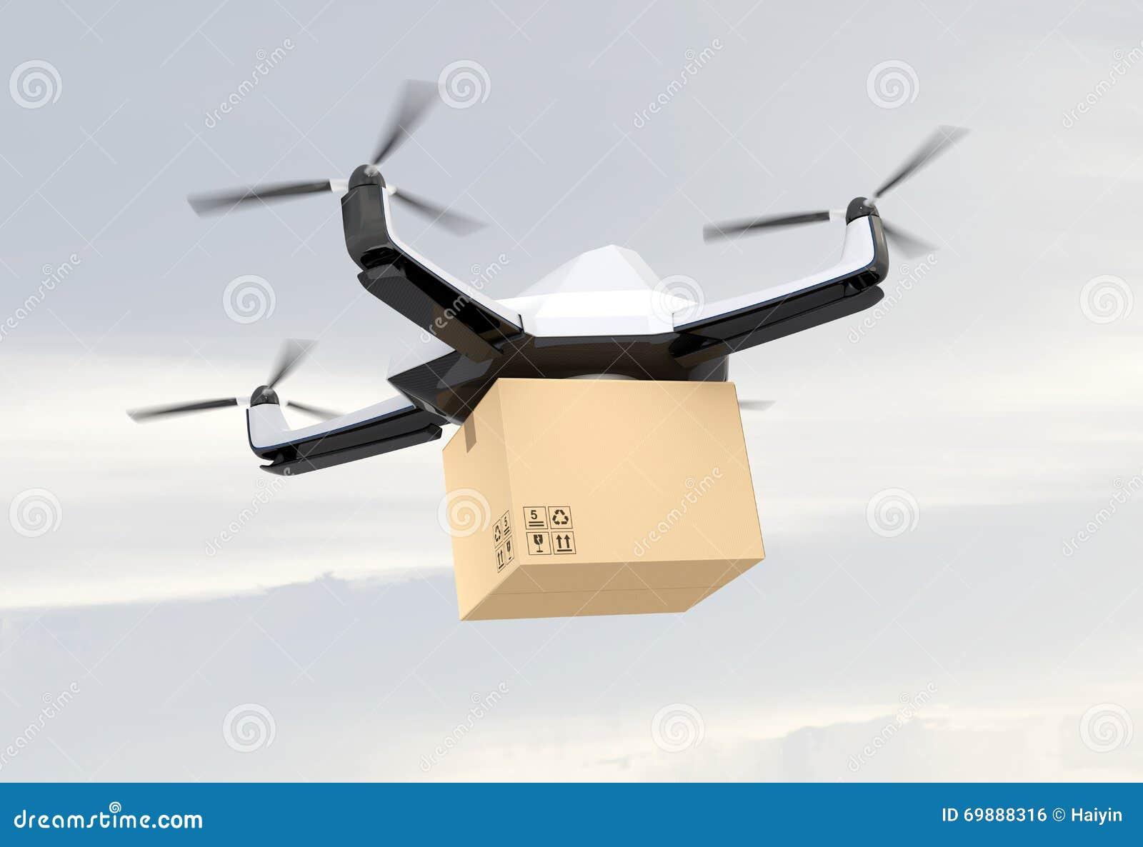 Αυτόνομος τηλεκατευθυνόμενος κηφήνας που παραδίδει το κουτί από χαρτόνι στον ουρανό