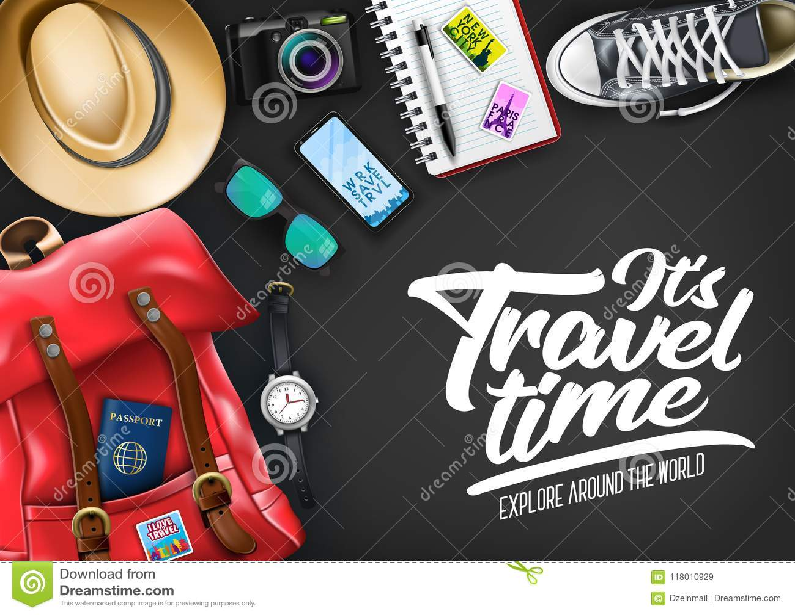 Αυτό χρονική τυπογραφία ταξιδιού ` s με το ρεαλιστικό καπέλο, διαβατήριο, κάμερα, τηλέφωνο