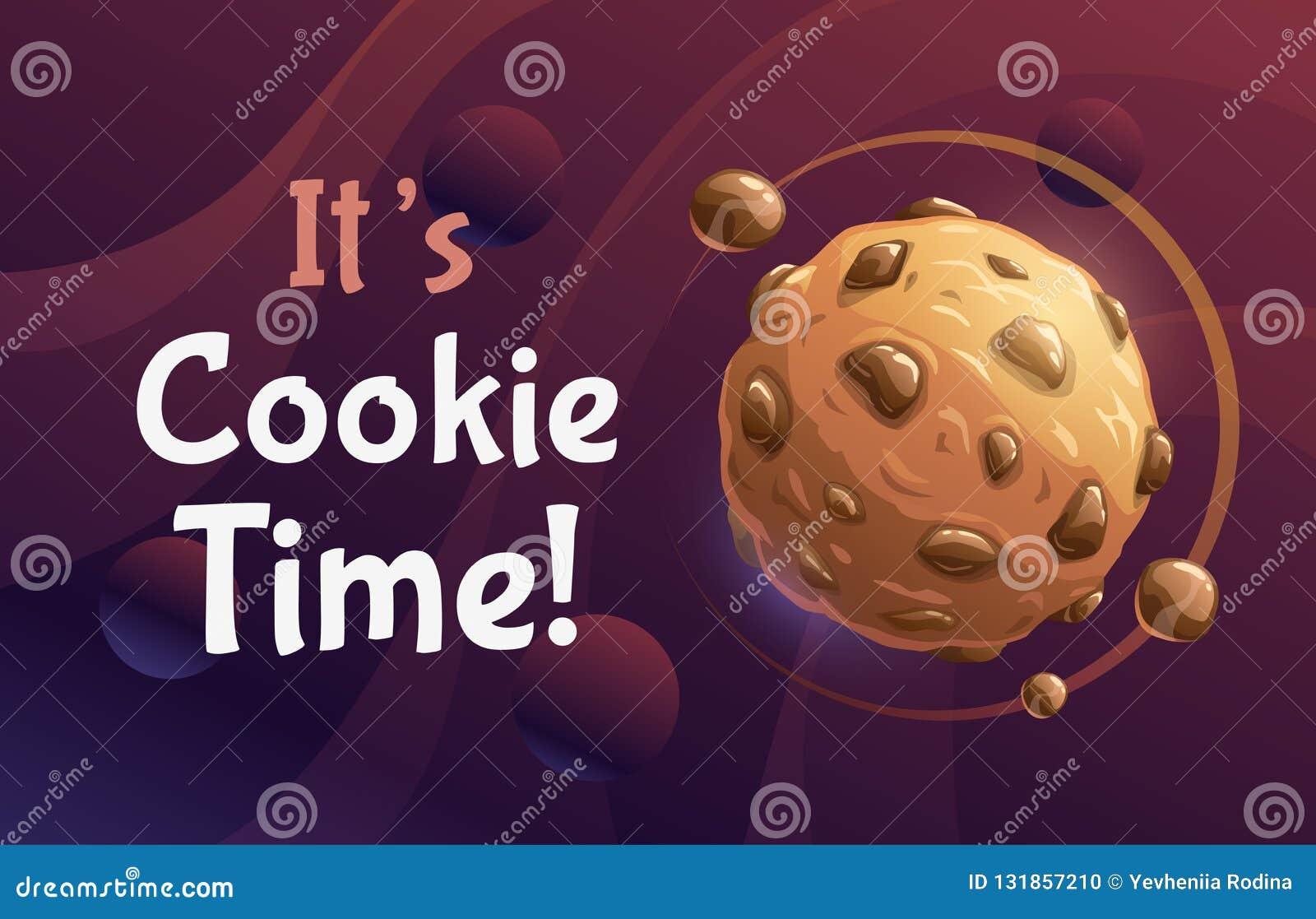 Αυτό χρόνος μπισκότων του s Διανυσματική αφηρημένη αφίσα με τον πλανήτη μπισκότων γλυκιάς σοκολάτας κινούμενων σχεδίων
