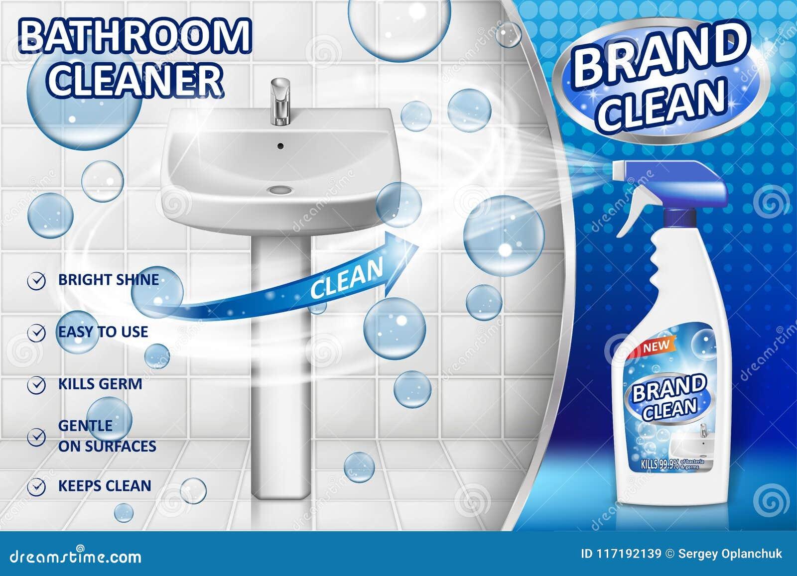 Αφίσα αγγελιών καθαριστών λουτρών, πρότυπο μπουκαλιών ψεκασμού με το υγρό απορρυπαντικό για το νεροχύτη λουτρών και τουαλέτα με τ