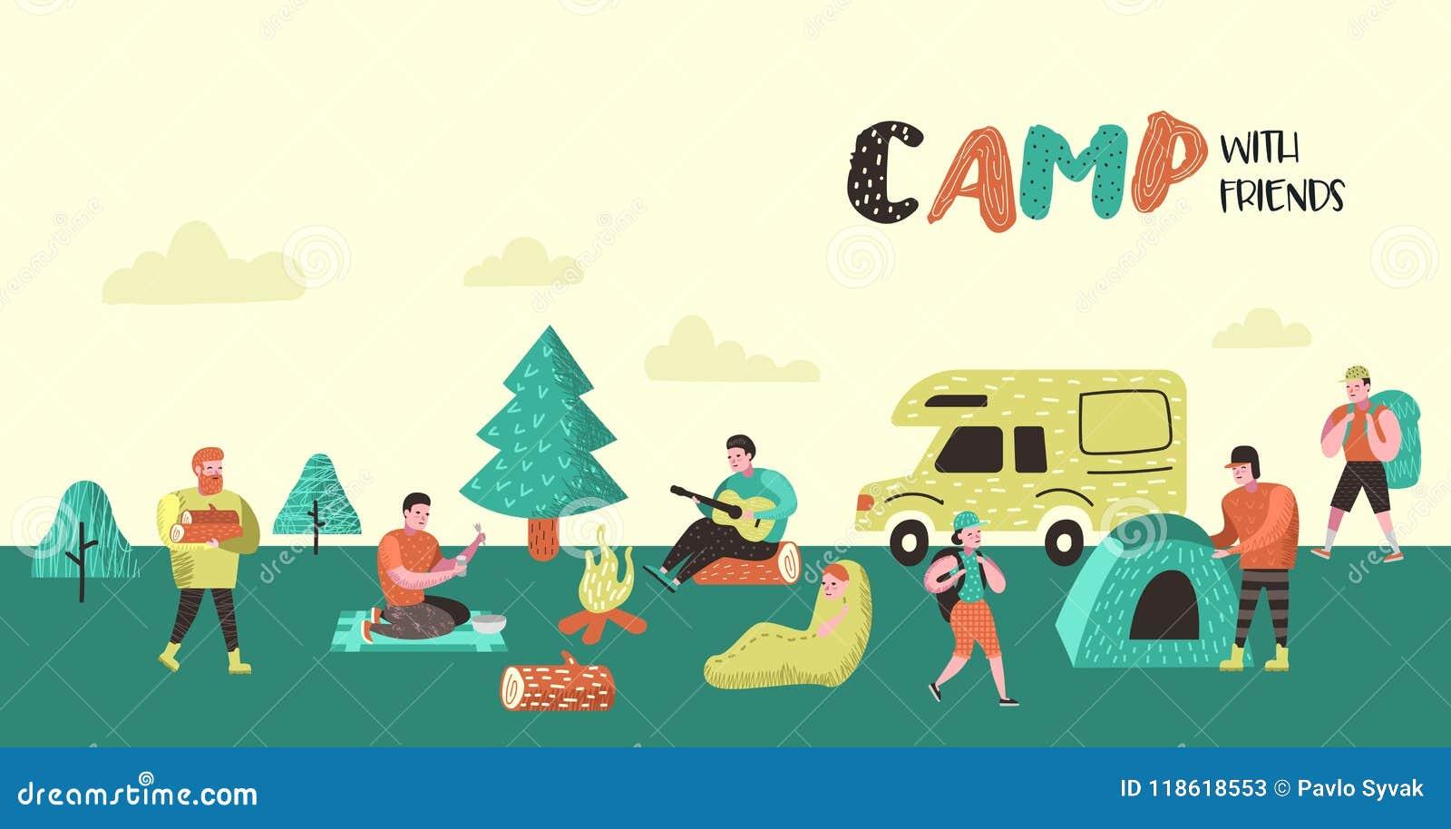 Αφίσα θερινής στρατοπέδευσης, έμβλημα Άνθρωποι χαρακτηρών κινουμένων σχεδίων στο υπόβαθρο στρατόπεδων Εξοπλισμός ταξιδιού, πυρά π