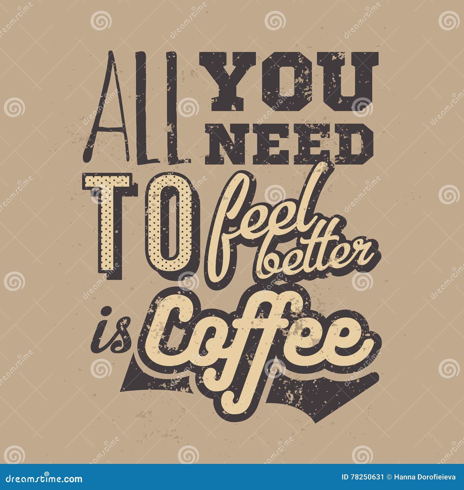 Αφίσα με το hand-drawn σύνθημα καφέ Δημιουργική διανυσματική απεικόνιση