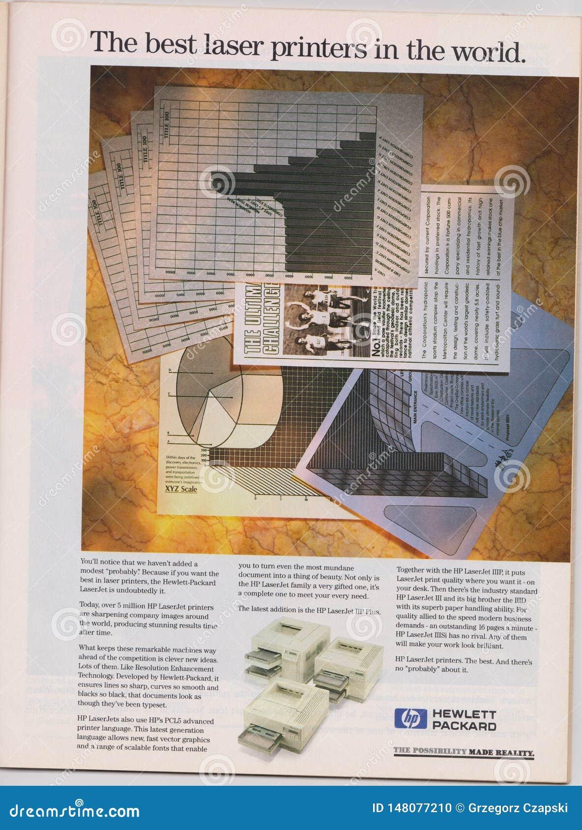 αφίσα που διαφημίζει τους εκτυπωτές λέιζερ HP Hewlett Packard στο περιοδικό από το 1992, οι καλύτεροι εκτυπωτές λέιζερ στο παγκόσ