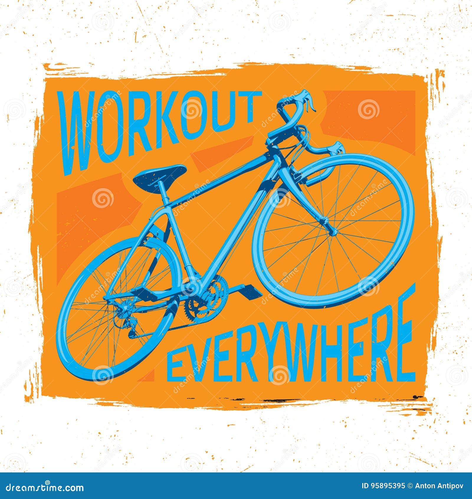 2e3121c46b9 Αφίσα Workout ποδηλάτων διανυσματική απεικόνιση. εικονογραφία από ...