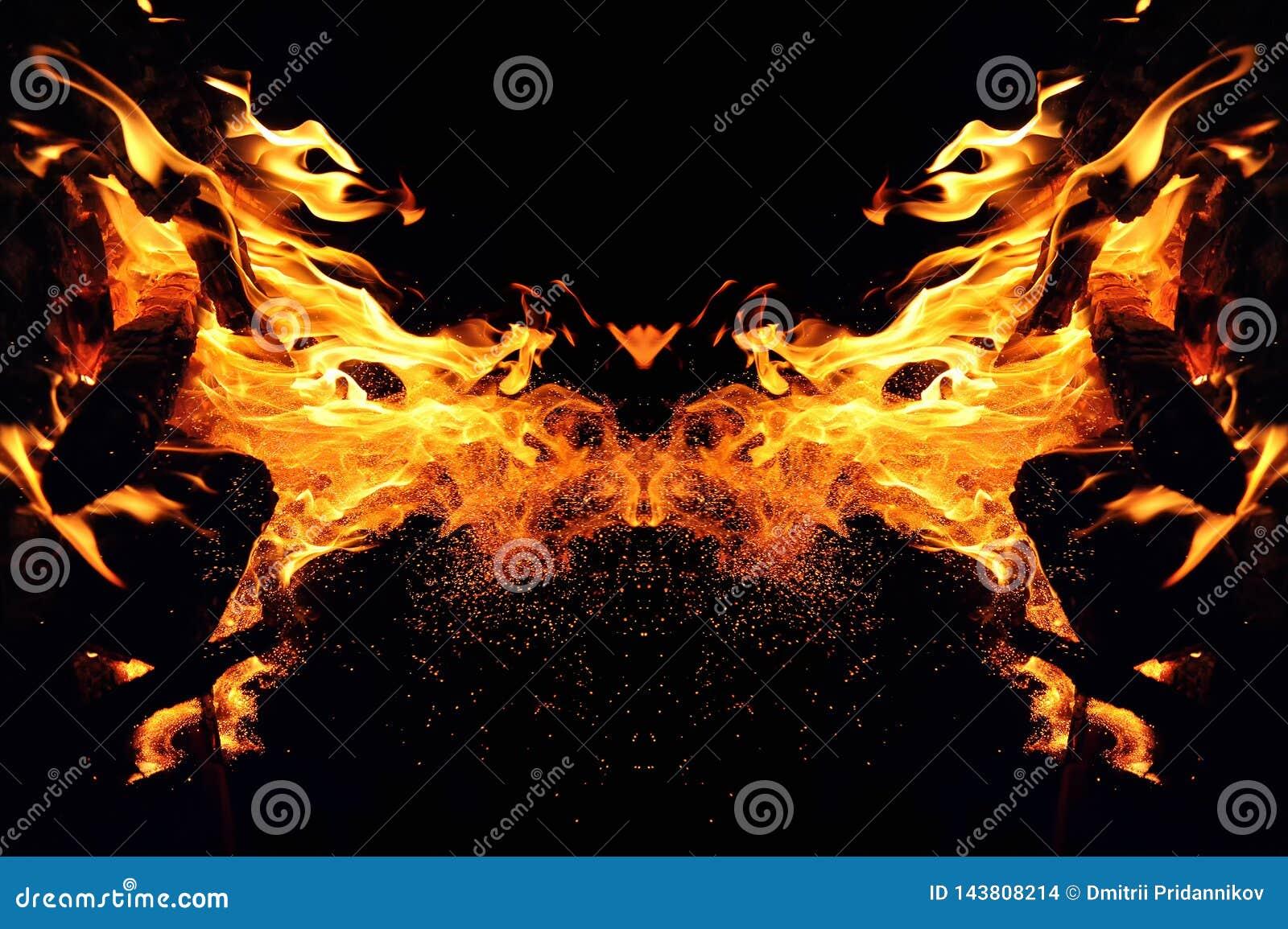 Αφαίρεση, καίγοντας πυρκαγιά με τους σπινθήρες Μυστικός τύπος κεφαλιού πεταλούδων ή γατών
