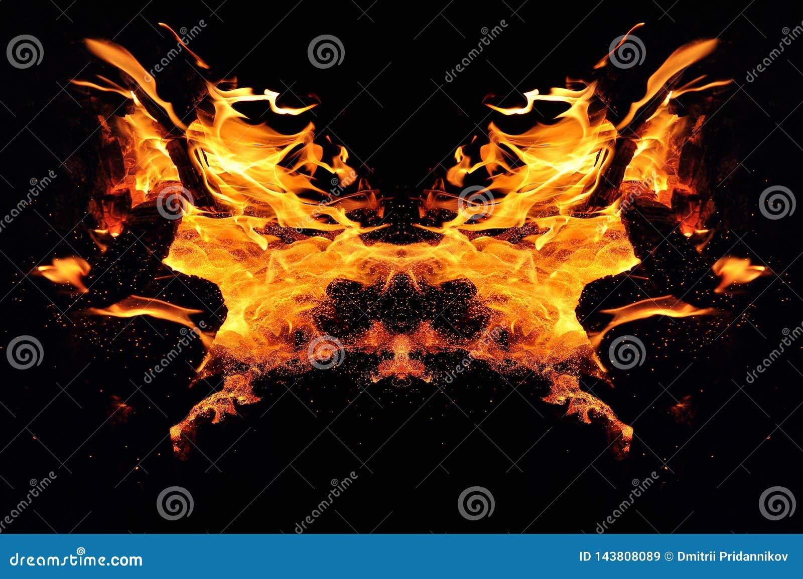 Αφαίρεση, καίγοντας πυρκαγιά με τους σπινθήρες Μυστικός τύπος πεταλούδας ή τέρατος Οριζόντια αντανάκλαση