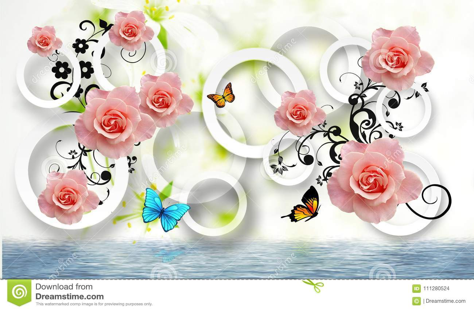 Αφαίρεση λουλουδιών Ταπετσαρία φωτογραφιών για τους τοίχους τρισδιάστατη απόδοση