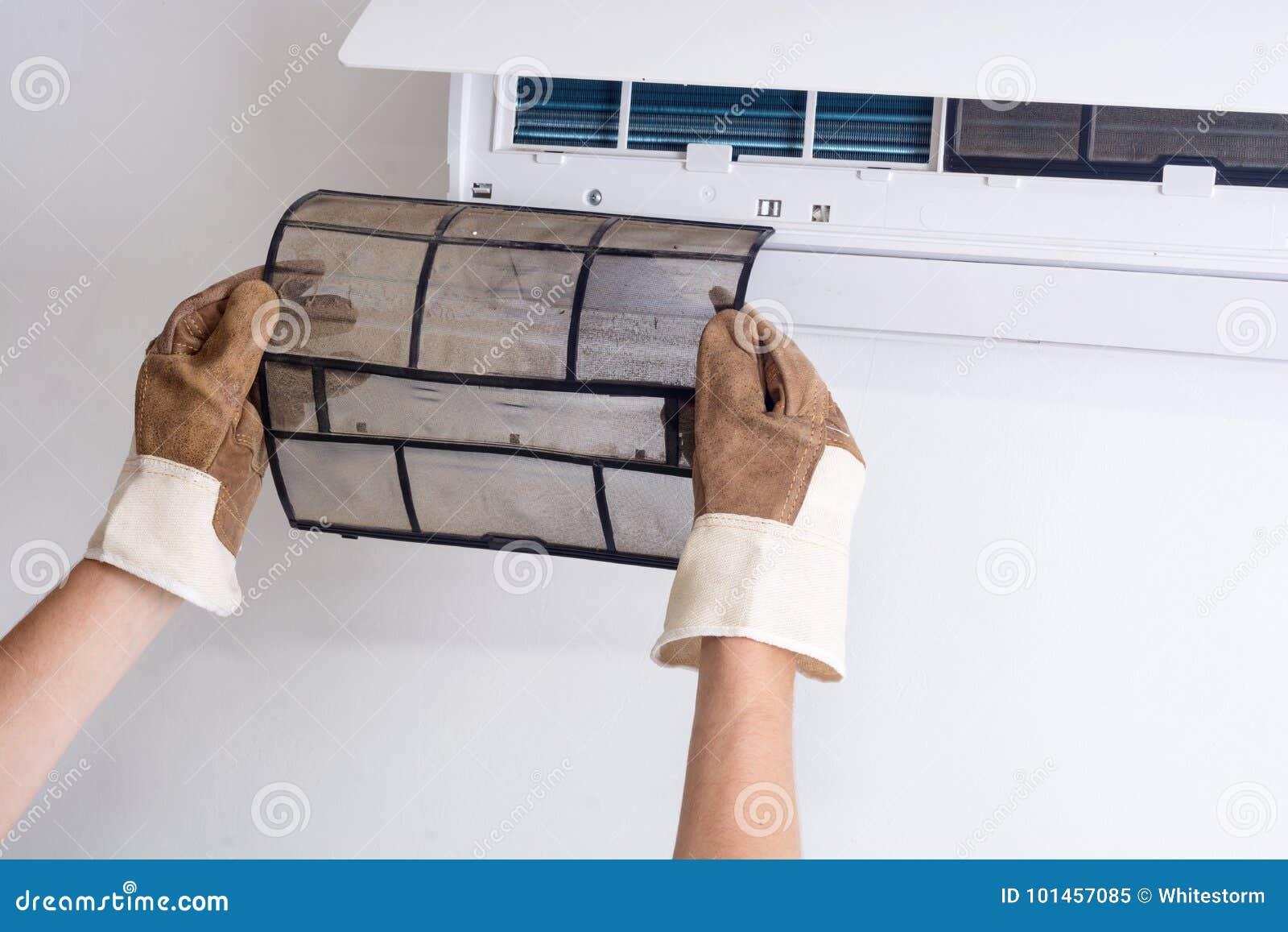 Αφαίρεση του βρώμικου φίλτρου κλιματιστικών μηχανημάτων