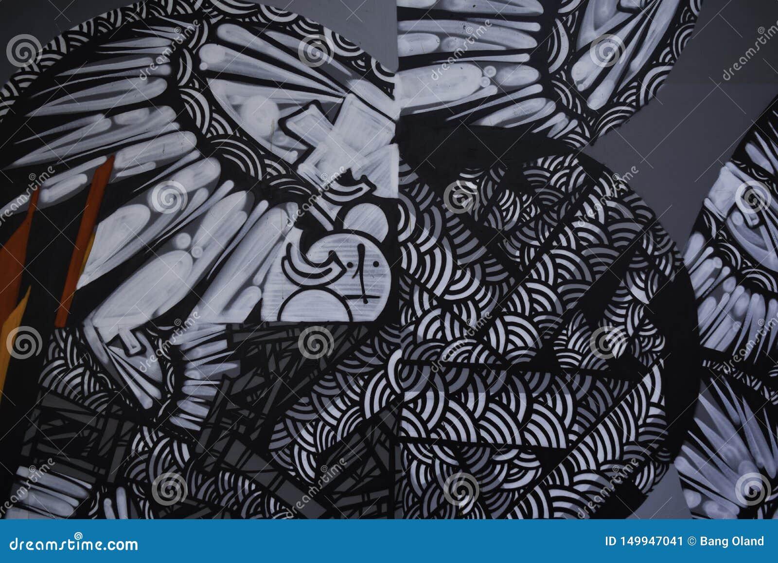 Αφηρημένα έργα ζωγραφικής γκράφιτι στο υπόβαθρο συμπαγών τοίχων
