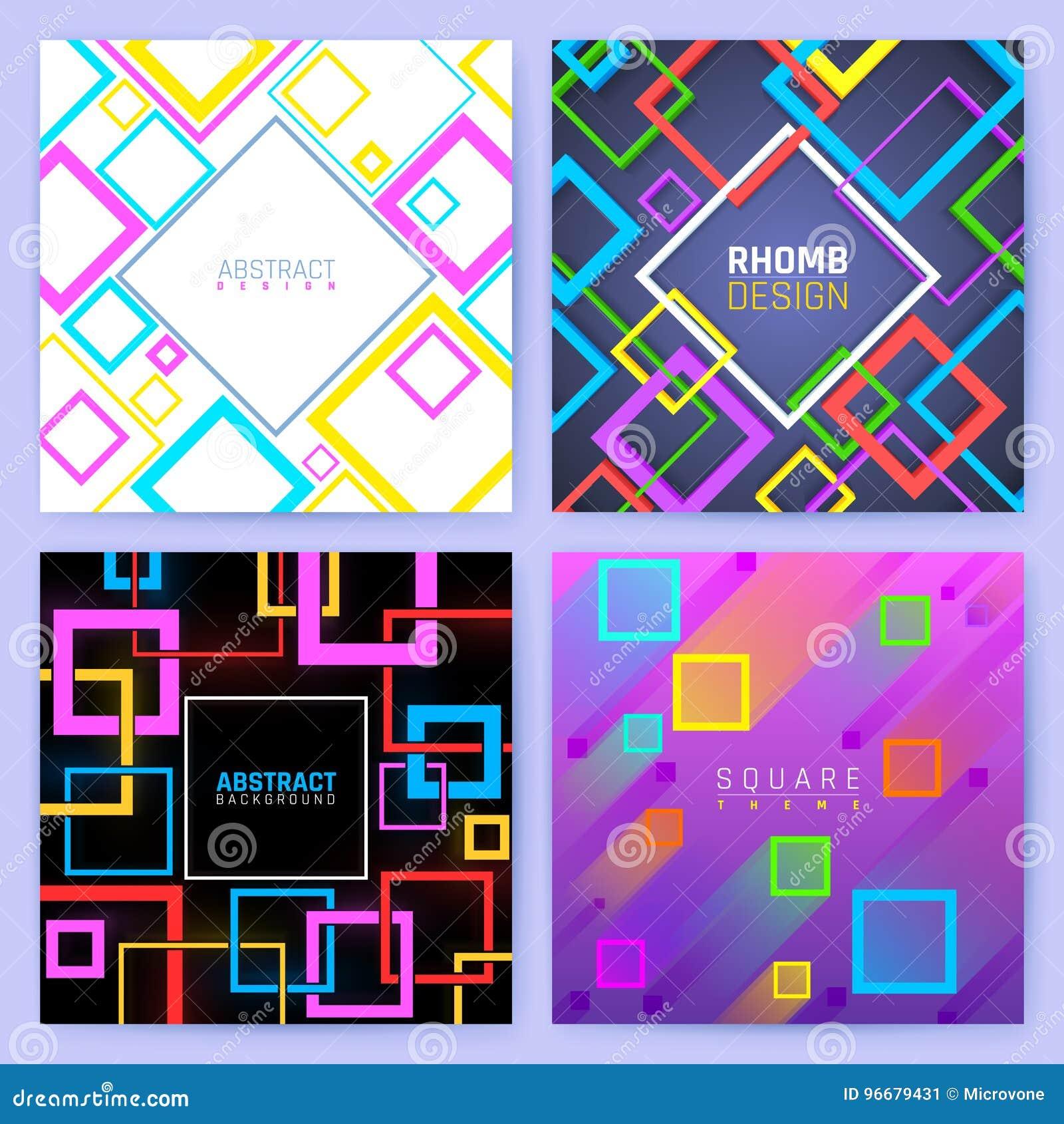 Αφηρημένα γεωμετρικά διανυσματικά υπόβαθρα με τα τετράγωνα χρώματος Δημιουργικό πρότυπο επιχειρησιακών φυλλάδιων σχεδίου