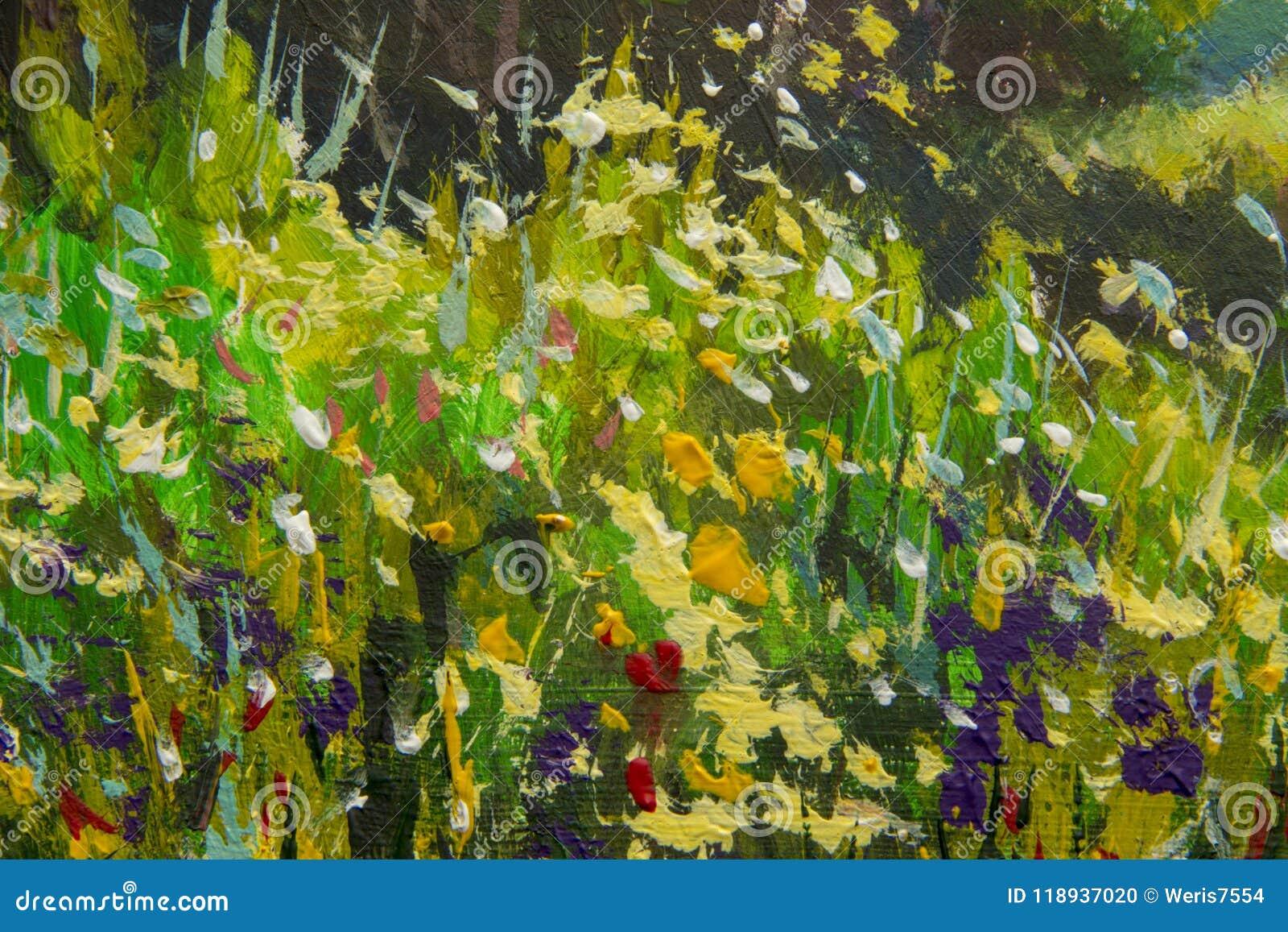 Αφηρημένα πολύχρωμα θερινά λουλούδια Ξέφωτο των λουλουδιών άνοιξη Διευρυμένο τεμάχιο της εικόνας Expressionism με ακρυλικό Natur
