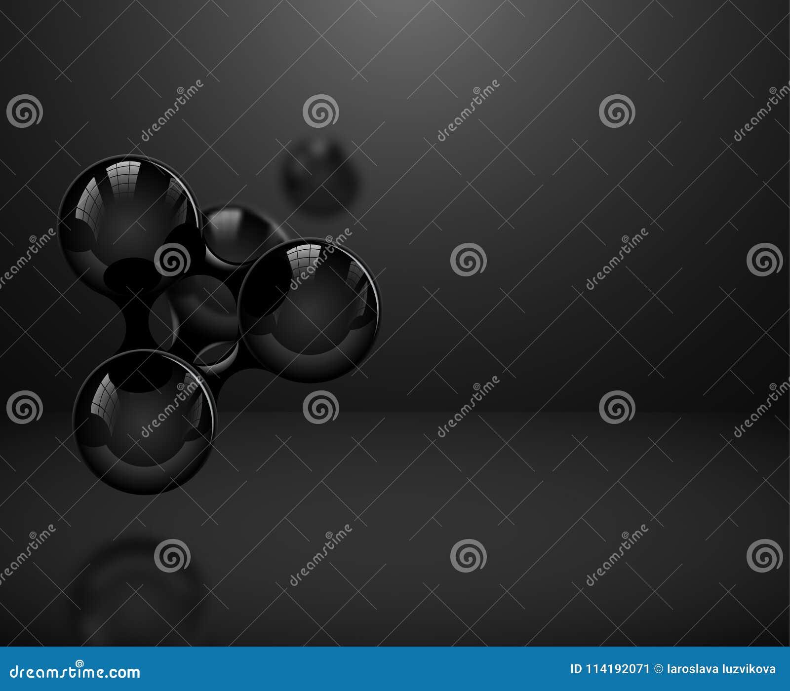 Αφηρημένα στιλπνά μαύρα μόρια ή άτομα στο σκοτεινό υπόβαθρο Διανυσματική απεικόνιση για το σύγχρονο σχέδιο ή το λογότυπο επιστήμη