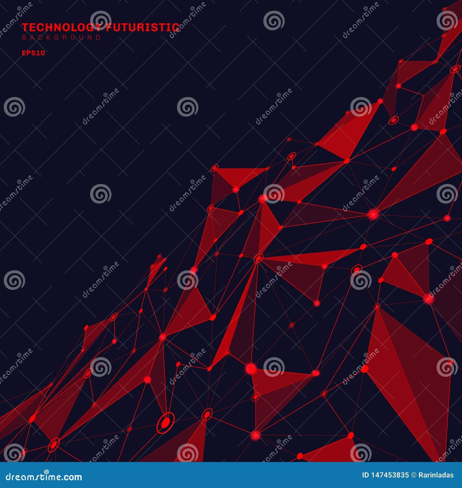 Αφηρημένες κόκκινες polygonal μορφές στο σκούρο μπλε υπόβαθρο προοπτικής που αποτελείται από τις γραμμές και τα σημεία υπό μορφή