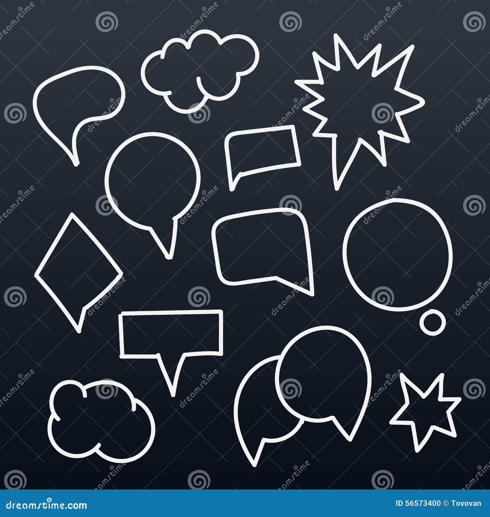 Download Αφηρημένες Hand-drawn ομιλούσες φυσαλίδες Διανυσματική απεικόνιση - εικονογραφία από συνδετήρας, ανασκόπησης: 56573400