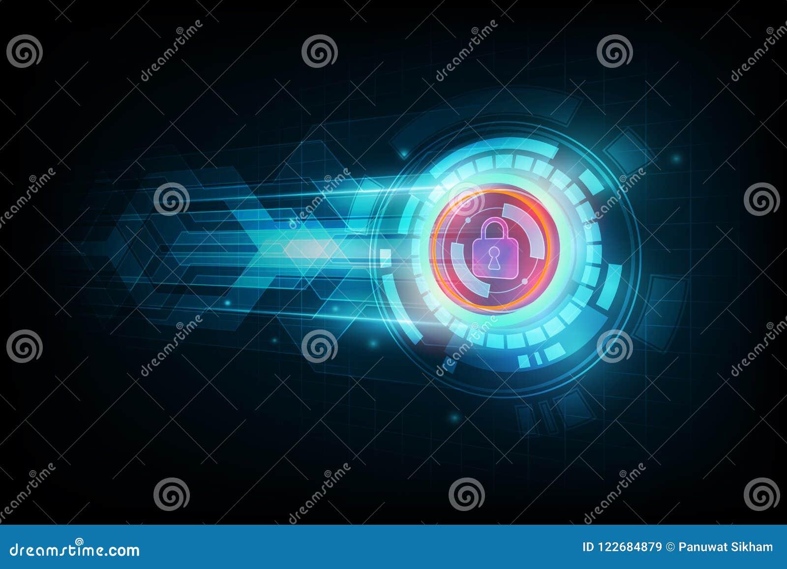 Αφηρημένη έννοια ασφαλείας δεδομένων και φουτουριστικό ηλεκτρονικό techno