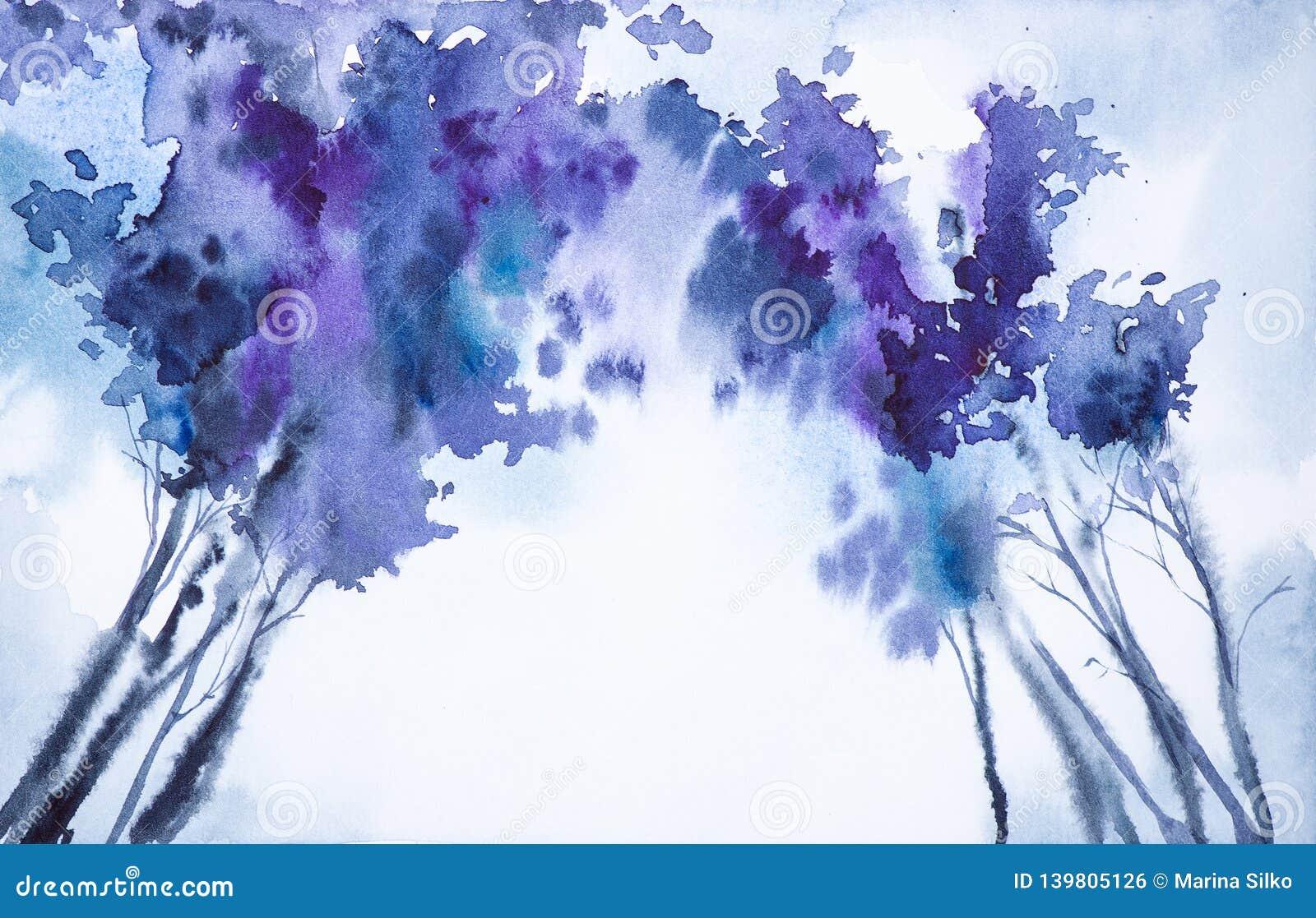 Αφηρημένη απεικόνιση watercolor μιας άποψης χειμερινών δασικής κατώτατων σημείων των κορυφών δέντρων