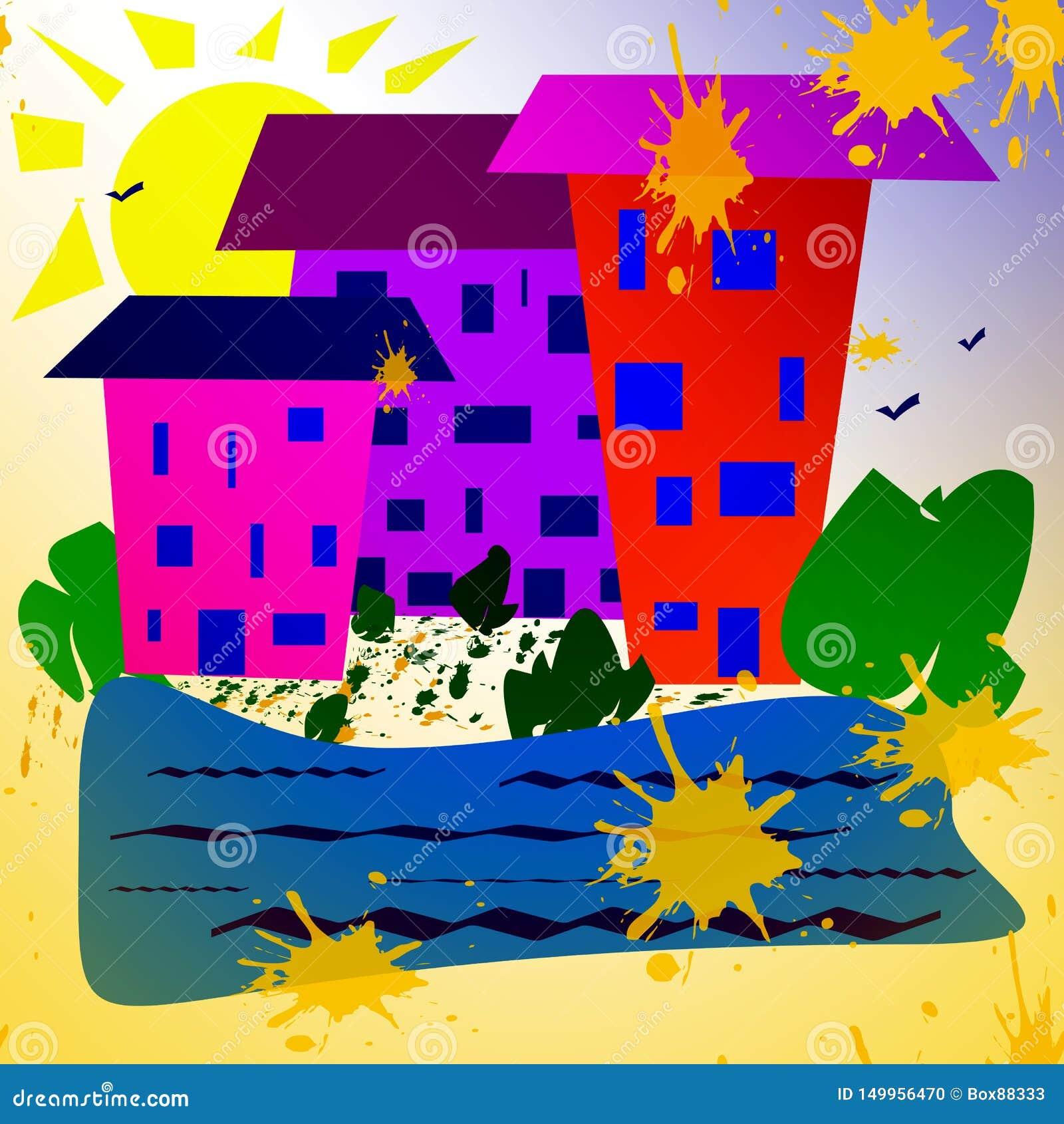 Αφηρημένη απλή εικόνα Ηλιόλουστη ημέρα, σπίτια κοντά σε μια δεξαμενή, εγκαταστάσεις