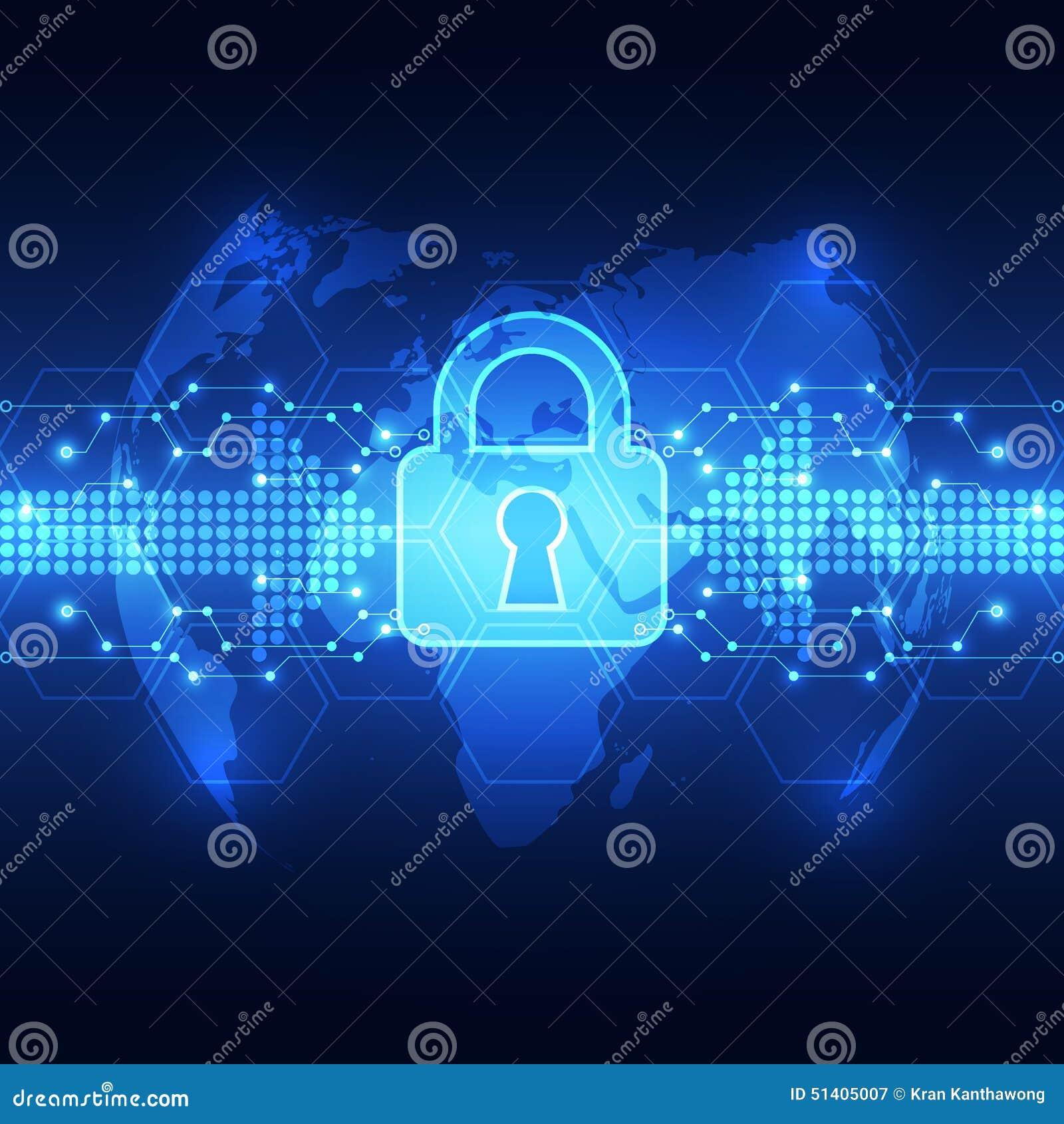 Αφηρημένη ασφάλεια τεχνολογίας στο υπόβαθρο παγκόσμιων δικτύων, διανυσματική απεικόνιση