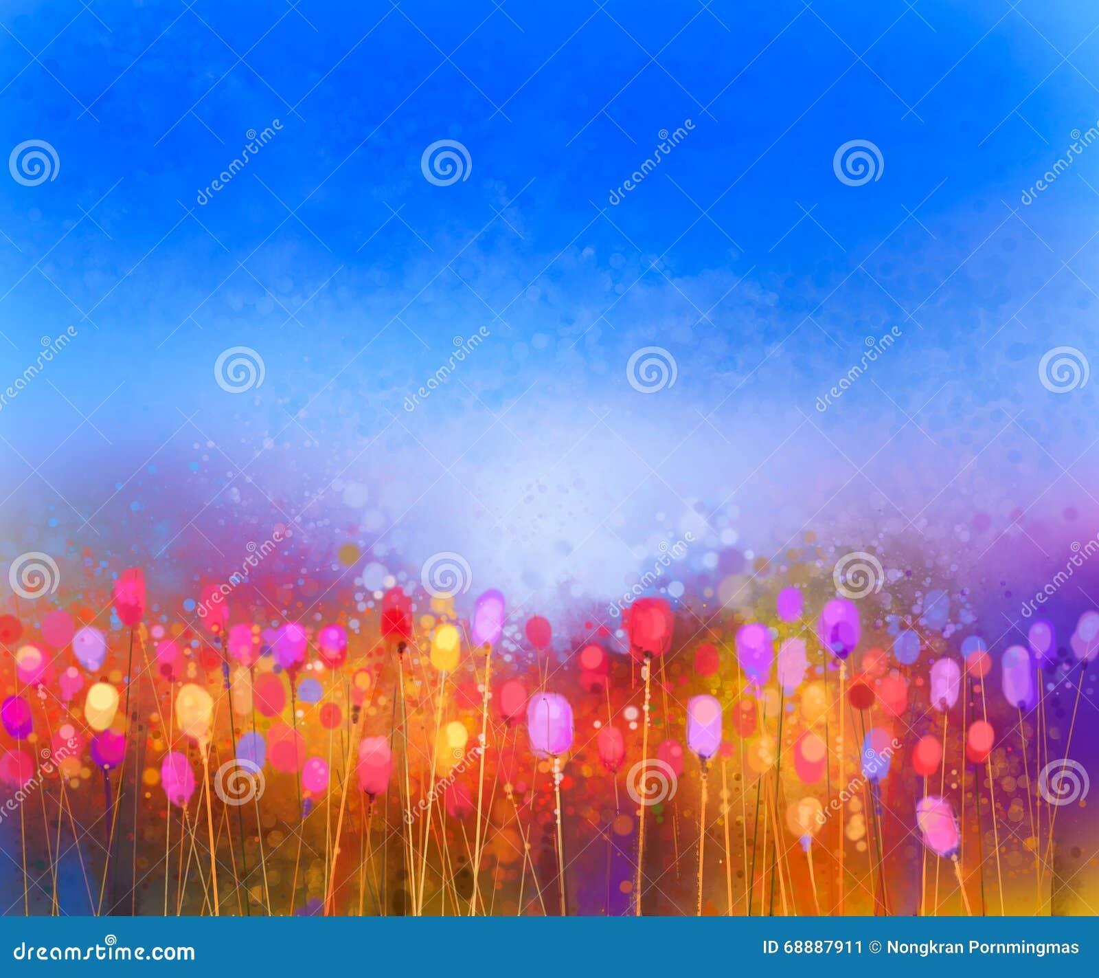 Αφηρημένη ζωγραφική watercolor τομέων λουλουδιών τουλιπών