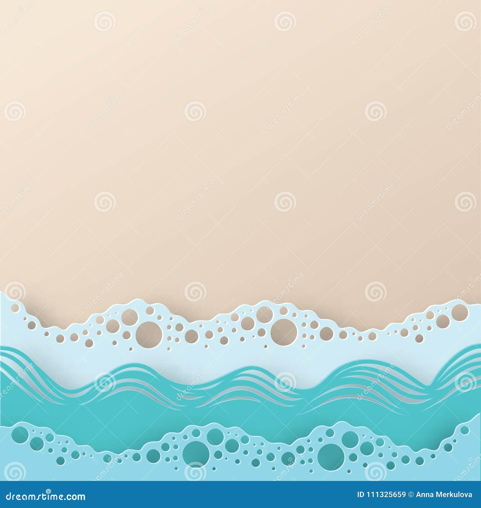 Αφηρημένη θάλασσα τέχνης εγγράφου ή ωκεάνιες κύματα και παραλία νερού