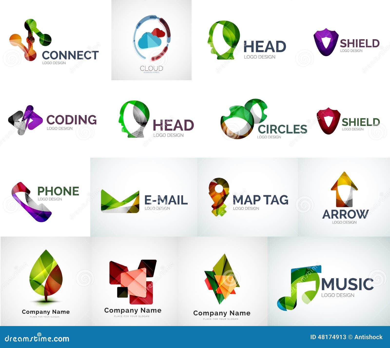 Αφηρημένη διανυσματική συλλογή λογότυπων επιχείρησης