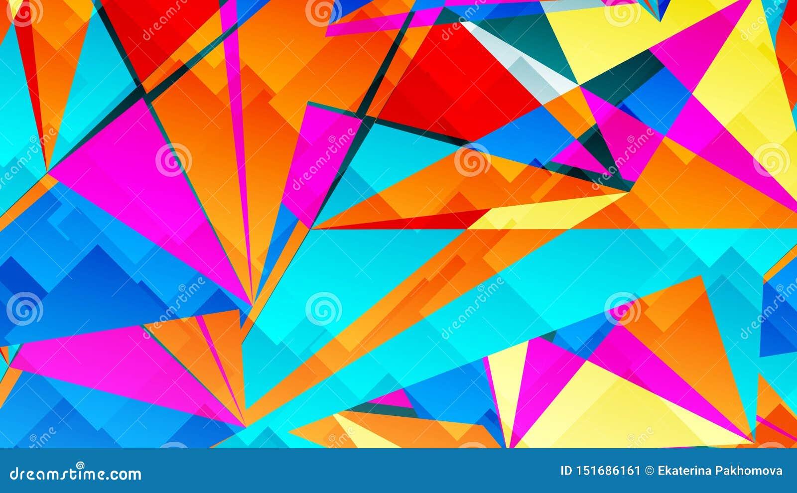 Αφηρημένη κάρτα με τα ζωηρόχρωμα χαοτικά τρίγωνα, πολύγωνα Τριγωνική ακατάστατη γεωμετρική αφίσα απείρου