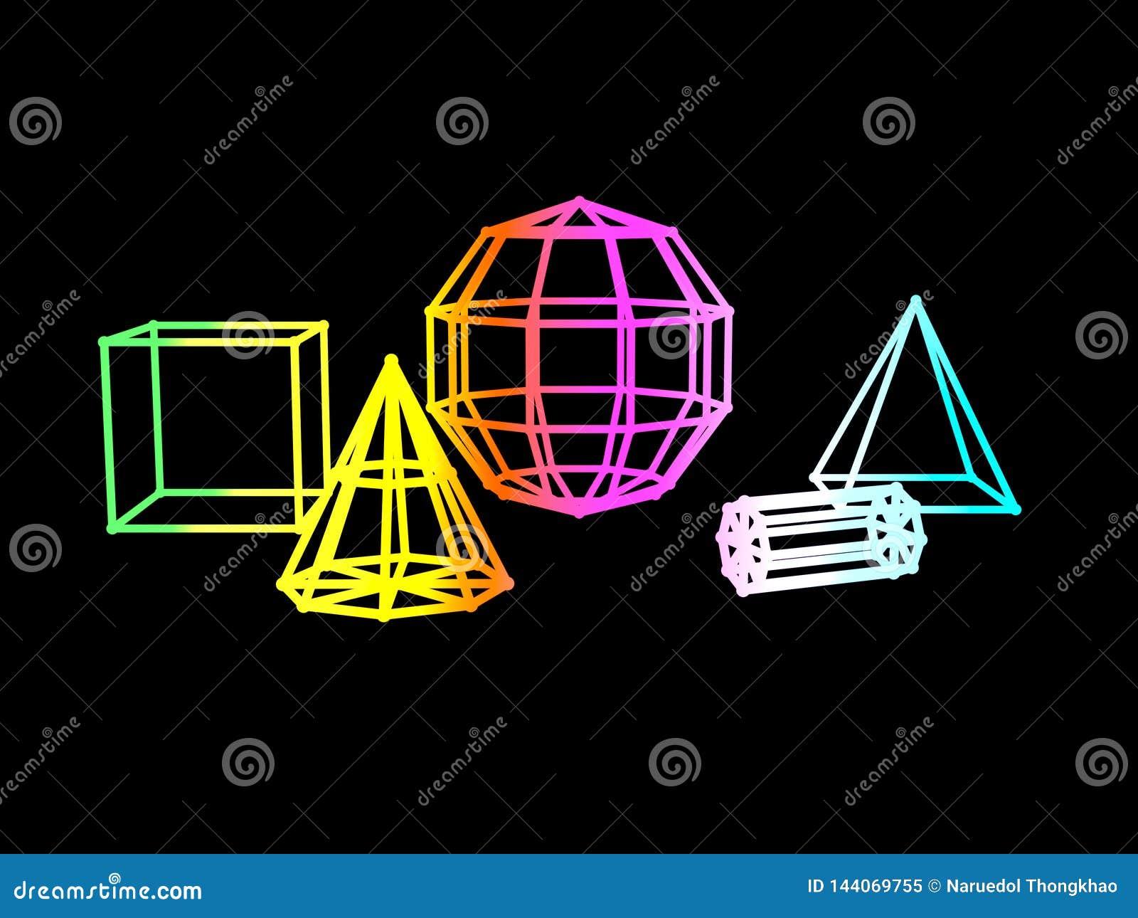 Αφηρημένη κλίσης χρώματος γεωμετρική τρισδιάστατη απόδοση υποβάθρου μορφής μαύρη