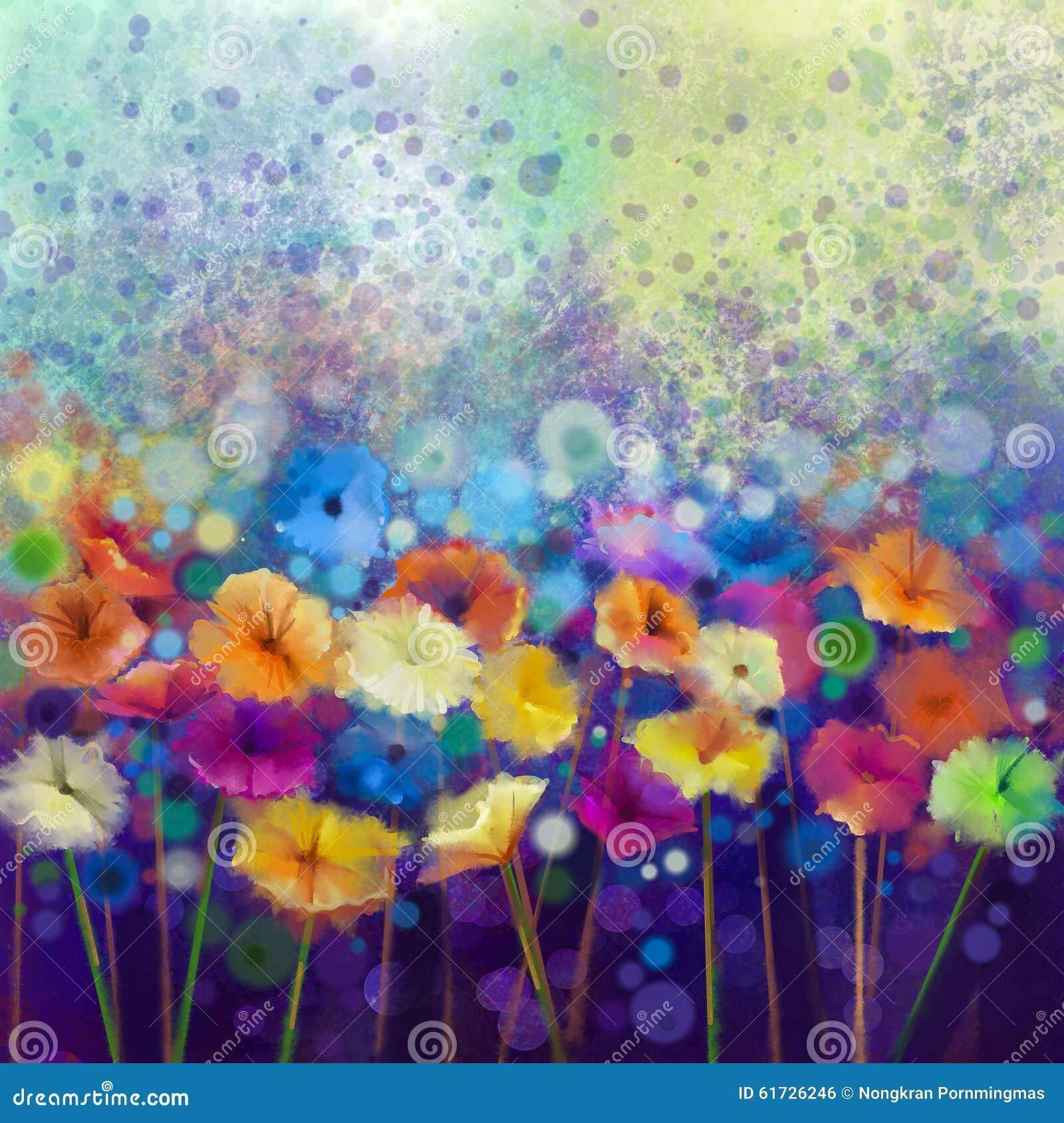 Αφηρημένη floral ζωγραφική watercolor Το άσπρο, κίτρινο, ρόδινο και κόκκινο χρώμα χρωμάτων χεριών του gerbera μαργαριτών ανθίζει