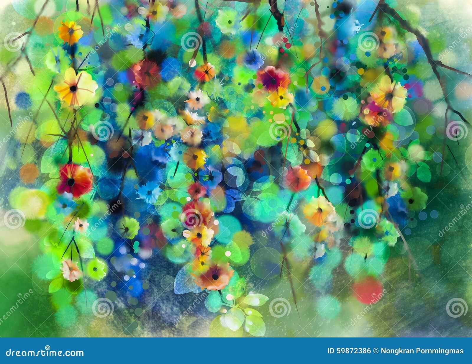 Αφηρημένη floral ζωγραφική watercolor