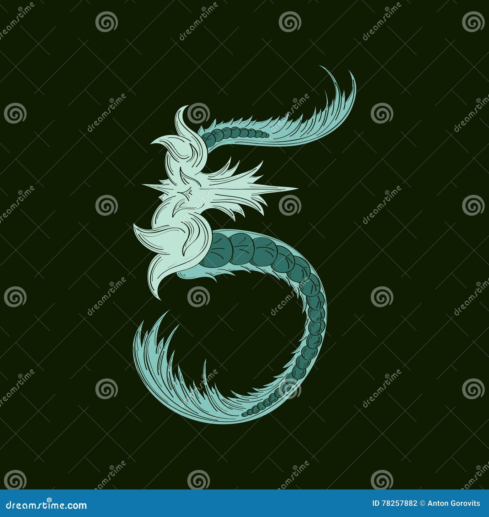 Αφηρημένος αριθμός 5 εικονίδιο λογότυπων στο μπλε τροπικό ύφος