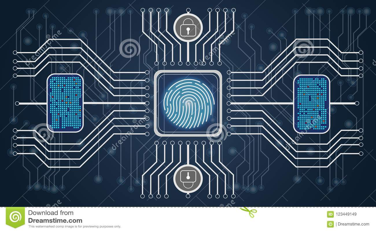 αφηρημένος μπλε φουτουριστικός ανασκόπησης Βιομετρική επιβεβαίωση ελέγχου και προσωπικότητας Σχέδιο του ελέγχου των δακτυλικών απ