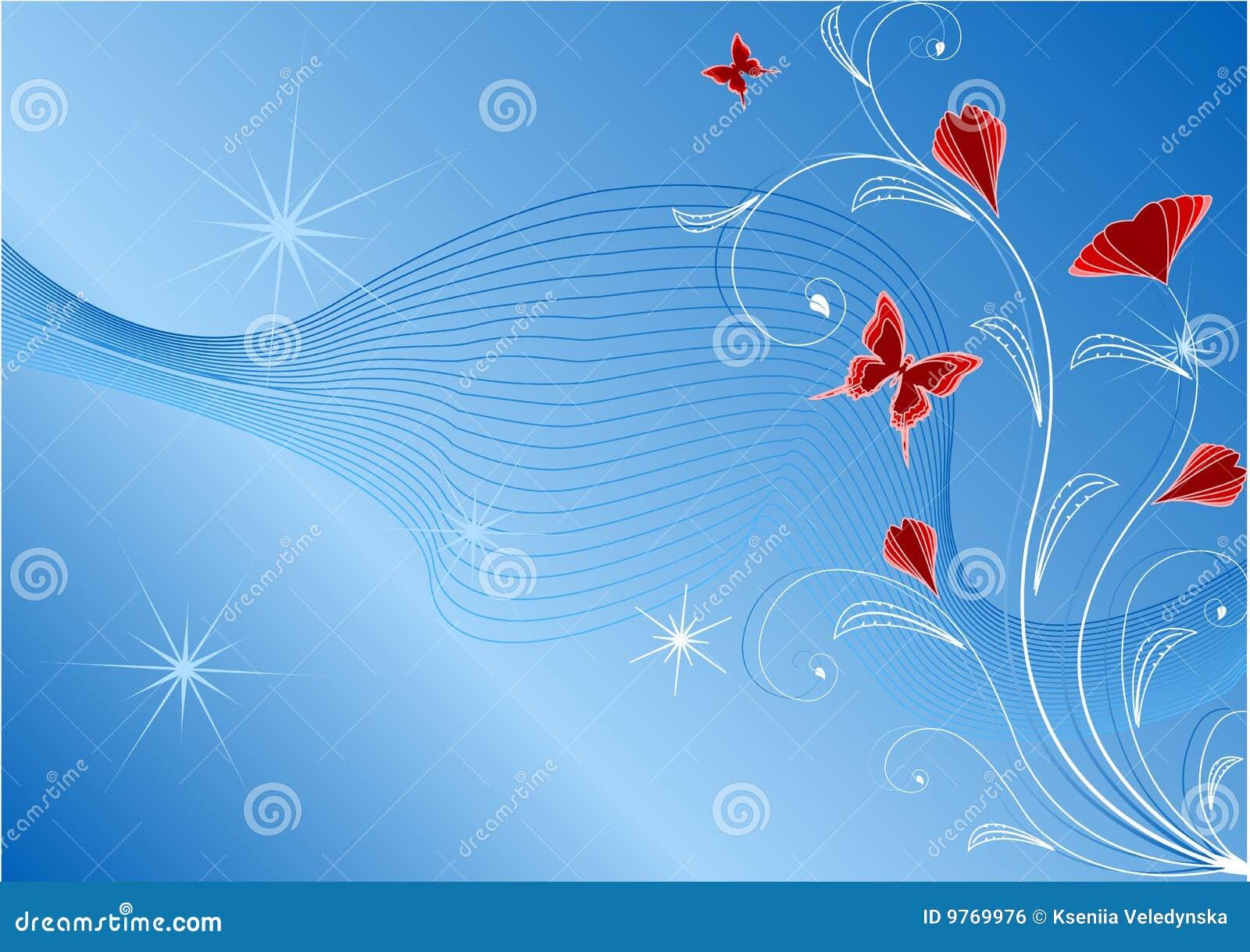 αφηρημένος μπλε floral ανασκόπησης