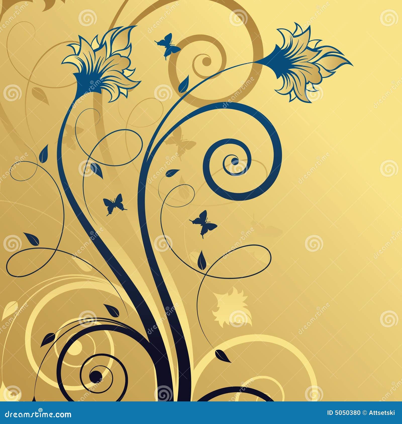 αφηρημένος μπλε floral χρυσός ανασκόπησης