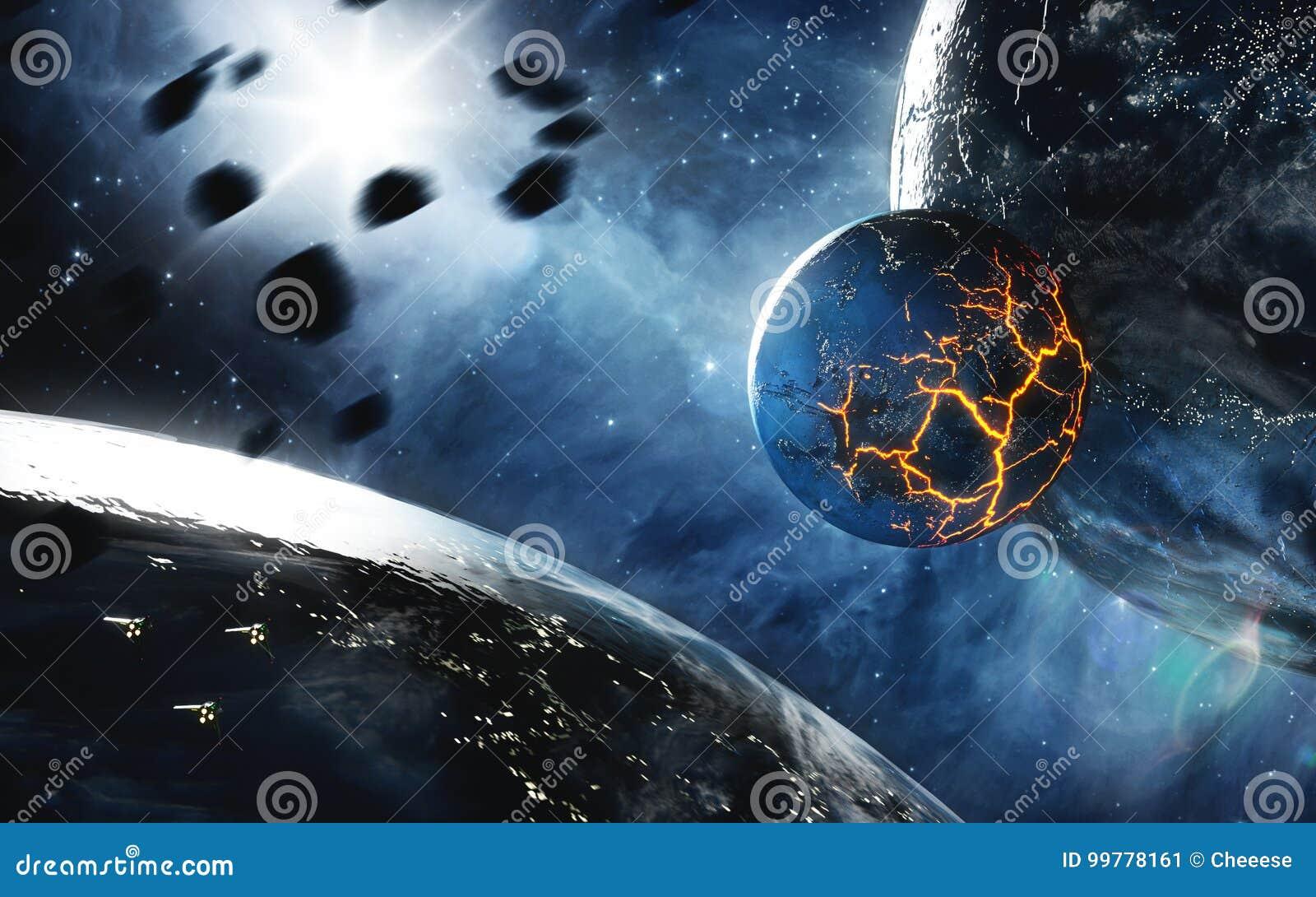 Αφηρημένος πλανήτης με τις τεράστιες ρωγμές με τη λάβα στο διάστημα Στοιχεία αυτής της εικόνας που εφοδιάζεται από τη NASA
