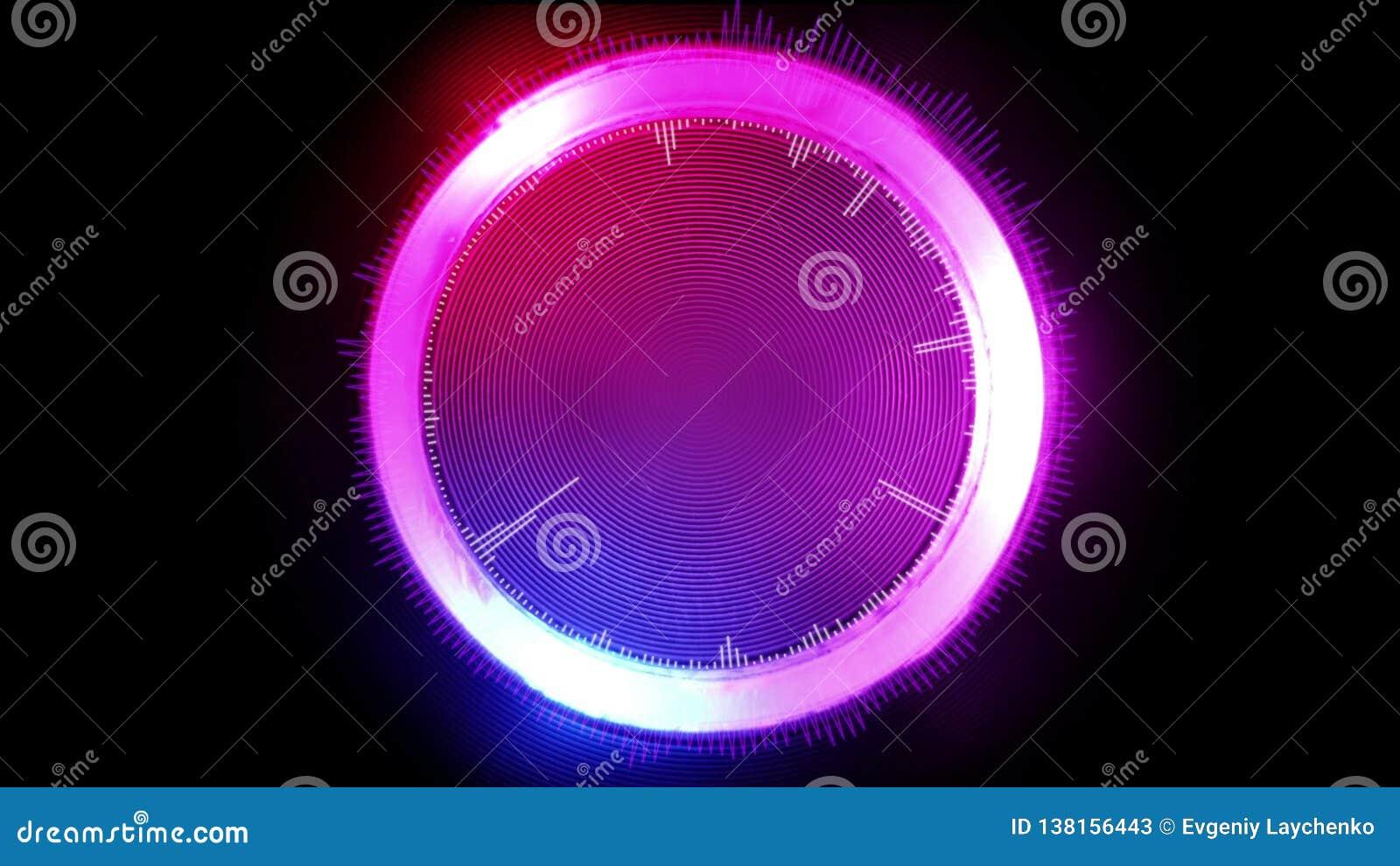 Αφηρημένος φουτουριστικός γραφικός κύκλος, που καίγεται στα διαφορετικά χρώματα, τρισδιάστατη απεικόνιση