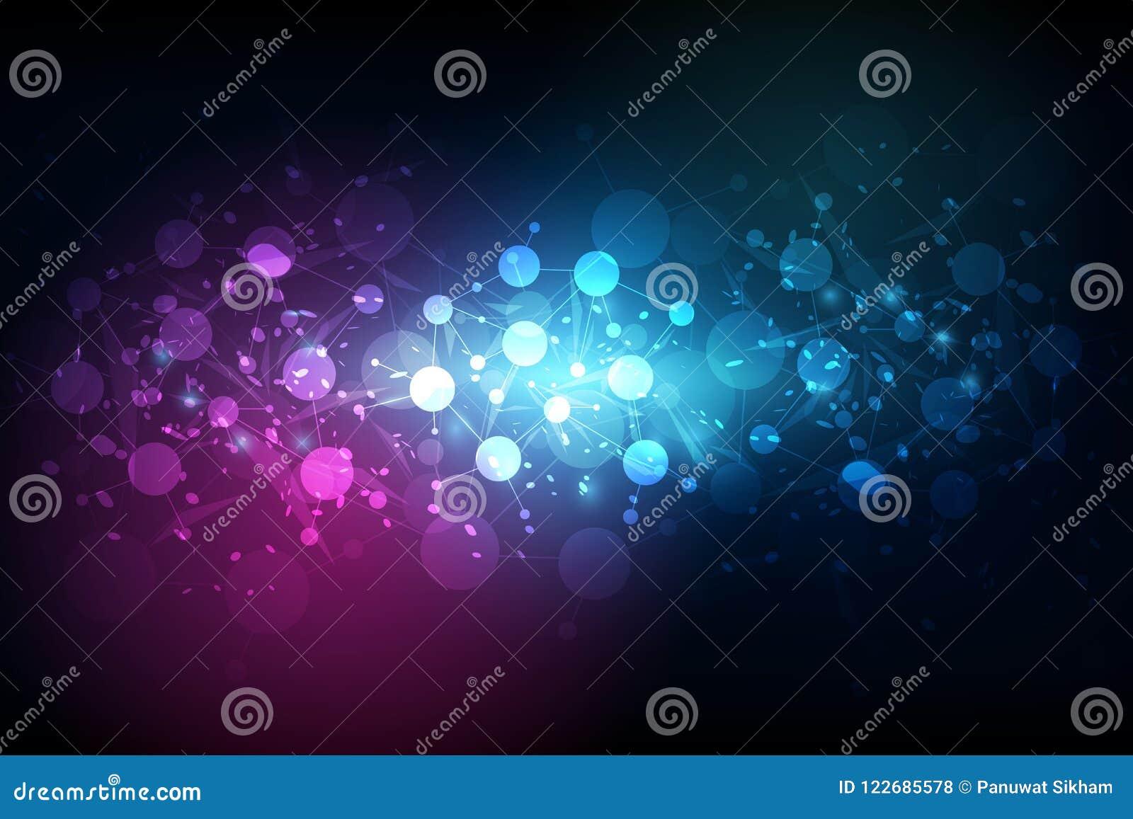 Αφηρημένος φουτουριστικός - τεχνολογία μορίων με γραμμικό και polyg