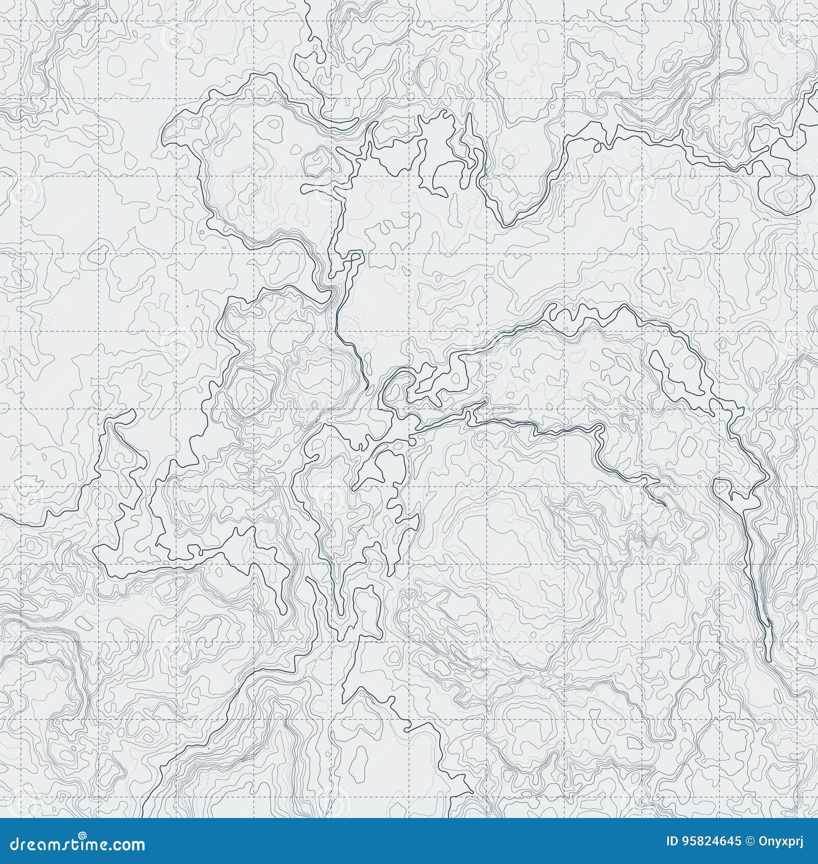 Αφηρημένος χάρτης περιγράμματος με τη διαφορετική ανακούφιση Τοπογραφική διανυσματική απεικόνιση για τη ναυσιπλοΐα