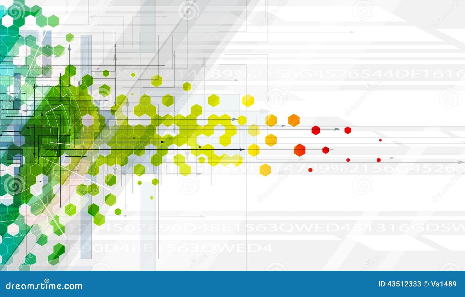 Αφηρημένο έμβλημα τεχνολογίας βασικών πληροφοριών χρώματος hexagon