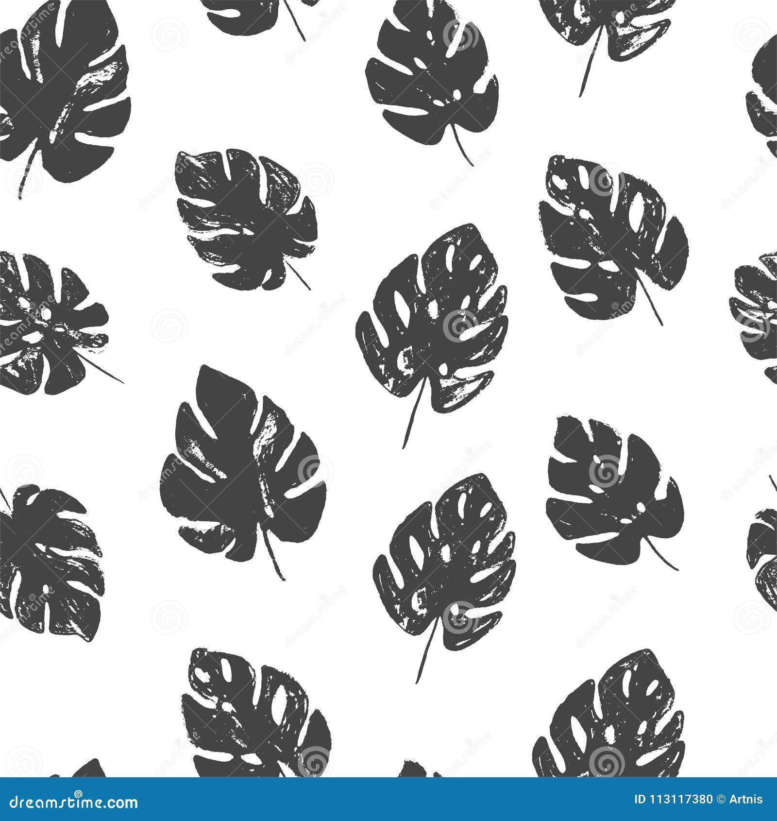 Αφηρημένο απλό floral άνευ ραφής σχέδιο monstera με τις καθιερώνουσες τη μόδα συρμένες χέρι συστάσεις στα γραπτά χρώματα