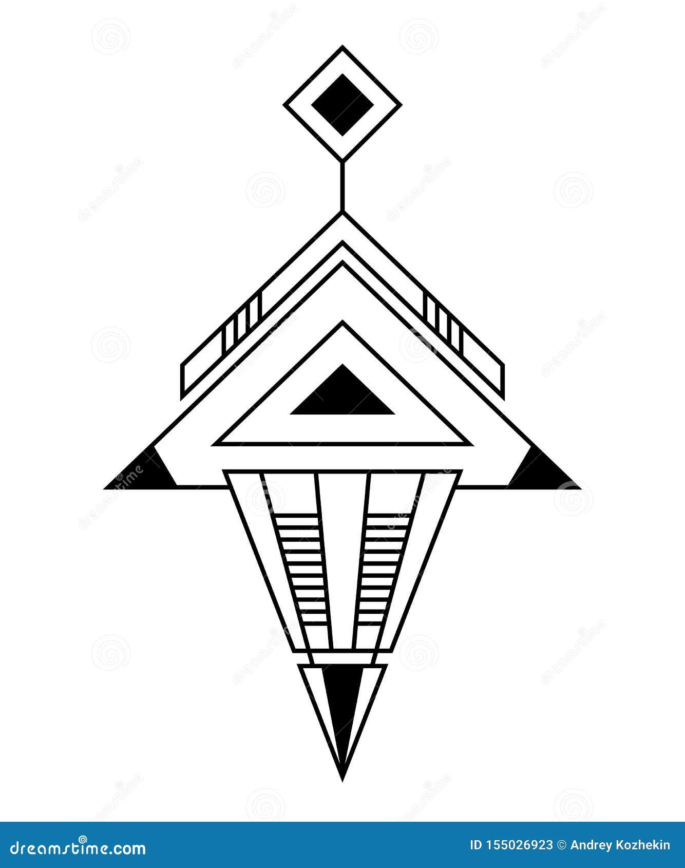 Αφηρημένο γεωμετρικό σύμβολο, που απομονώνεται στο άσπρο υπόβαθρο Ιερό σημάδι γεωμετρίας