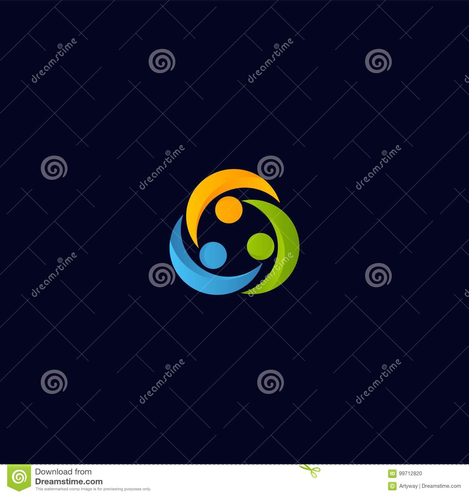 Αφηρημένο διανυσματικό λογότυπο ανθρώπων ένωσης Απομονωμένο πρότυπο εικονιδίων ανθρώπων συνεργασία Ζωηρόχρωμος συνέταιρος logotyp